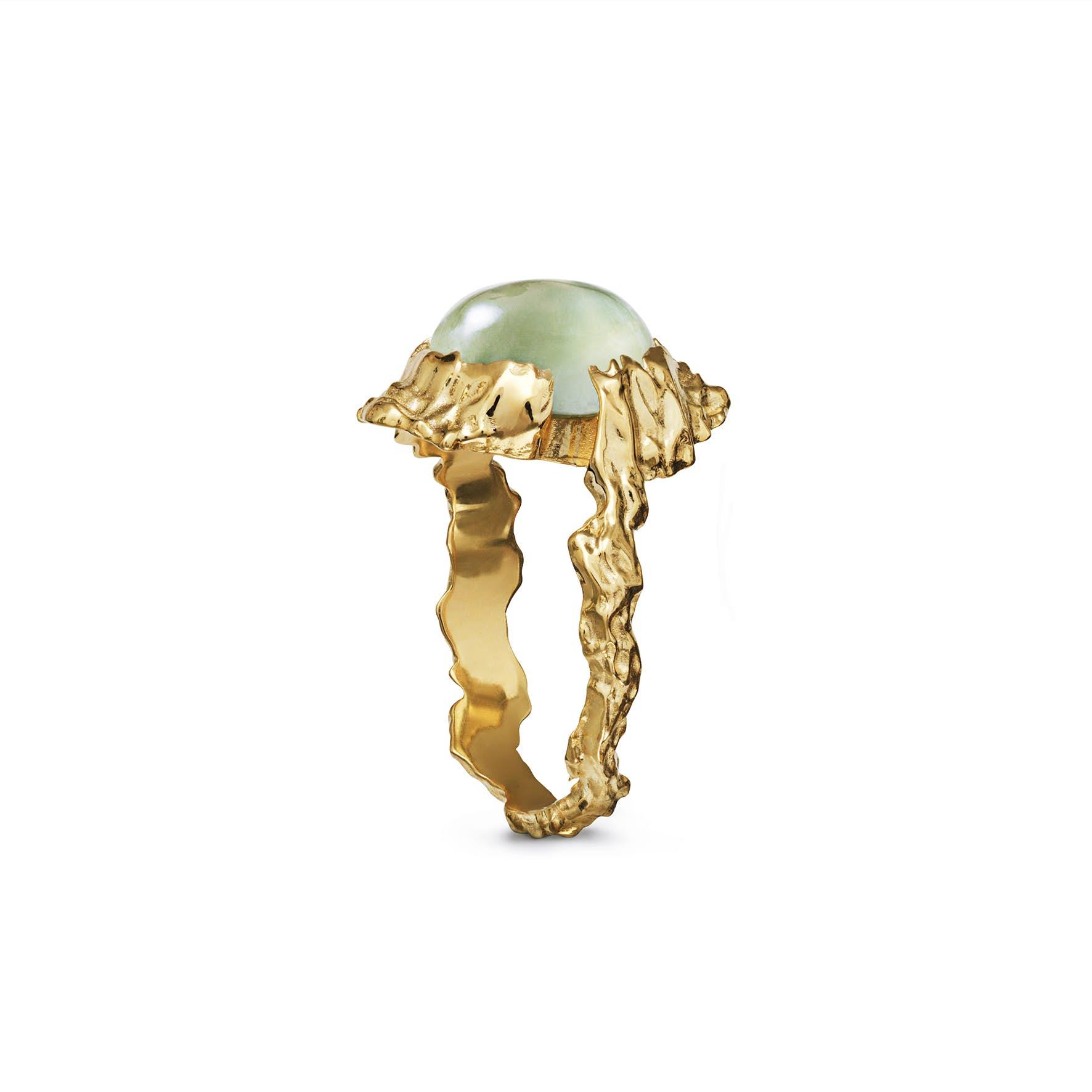 Goddess Ring Prehnit från Maanesten i Förgyllt-Silver Sterling 925
