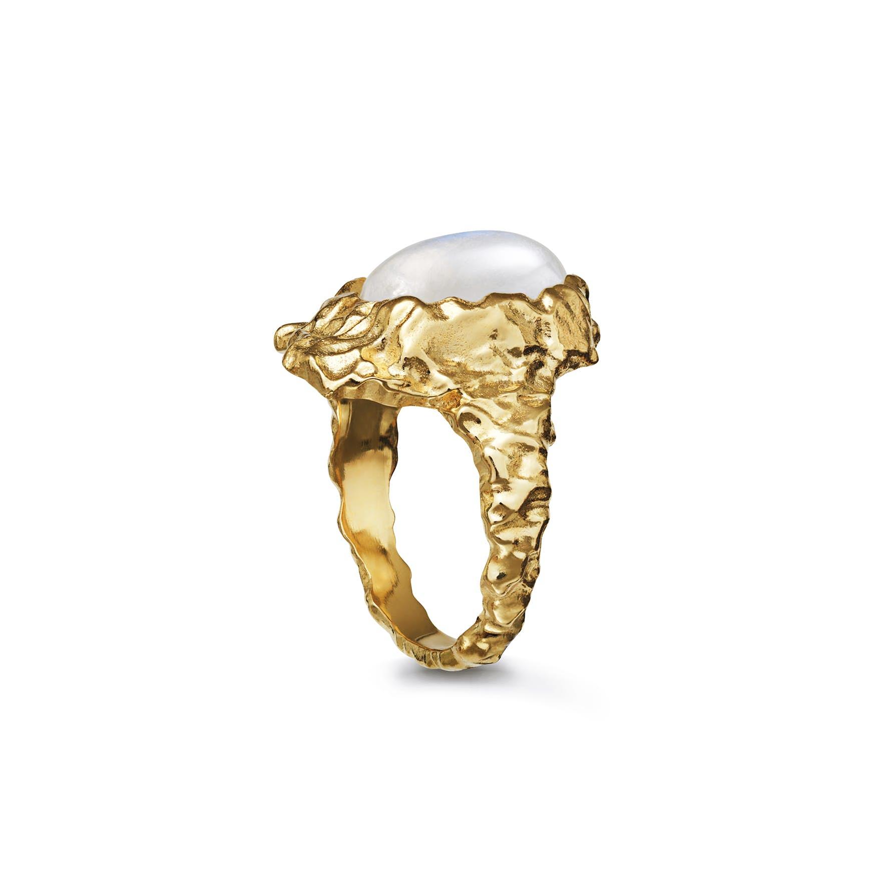 Goddess Ring Moonstone fra Maanesten i Forgyldt-Sølv Sterling 925