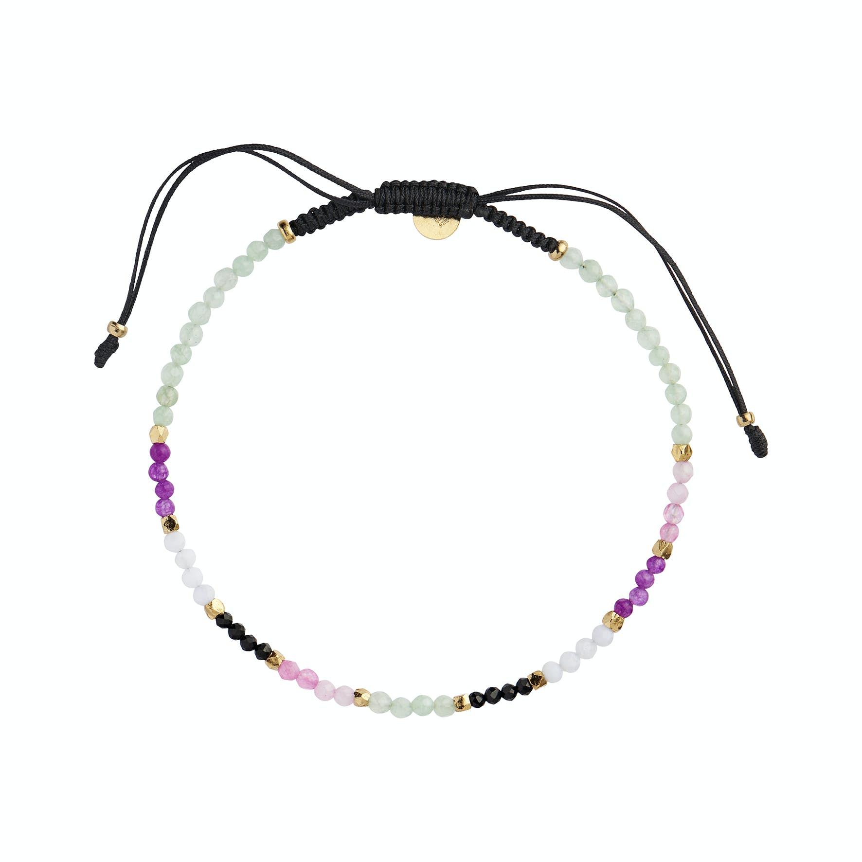Mint Green Rainbow Mix Bracelet With Black Ribbon fra STINE A Jewelry i Nylon