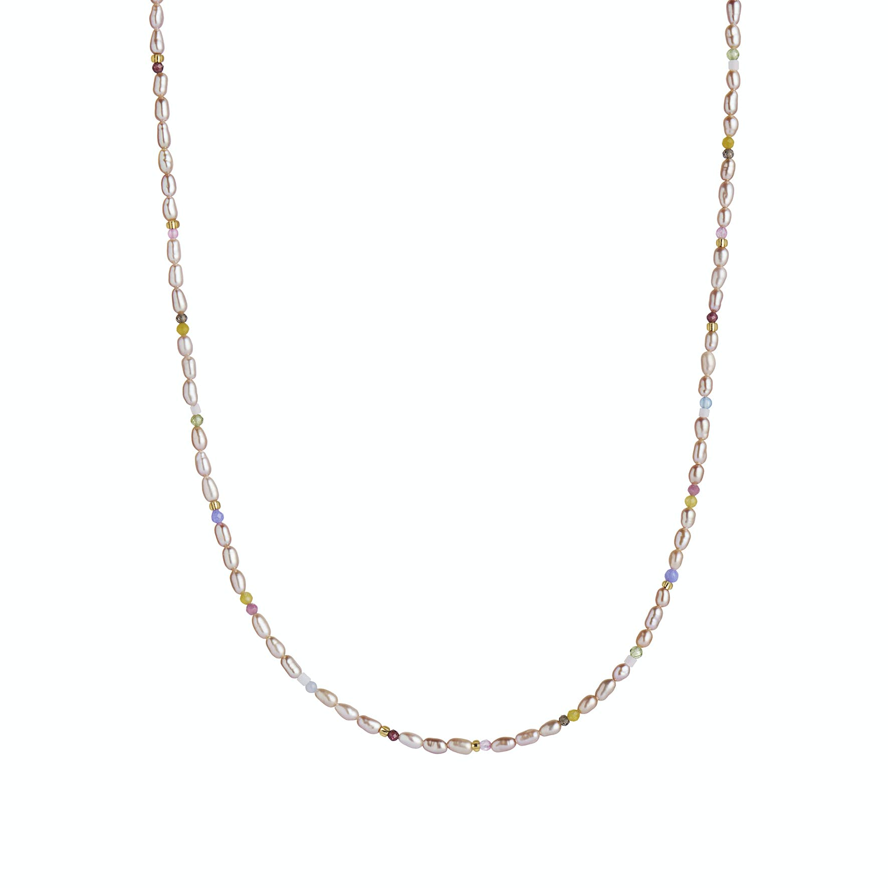 Confetti Pearl Necklace With Beige and Pastel Mix
