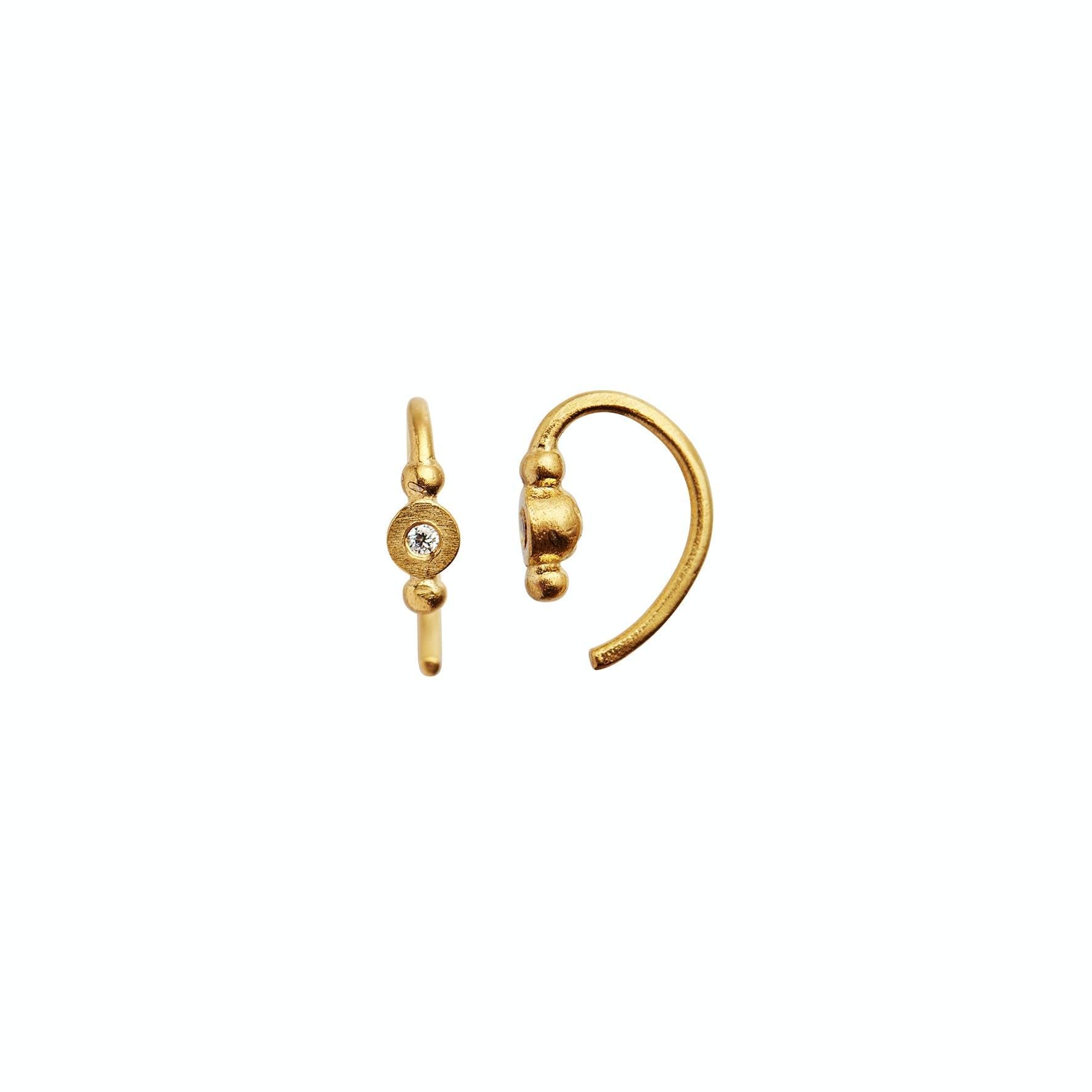 Petit Bon-Bon White Zircon Earring Piece from STINE A Jewelry in Goldplated-Silver Sterling 925