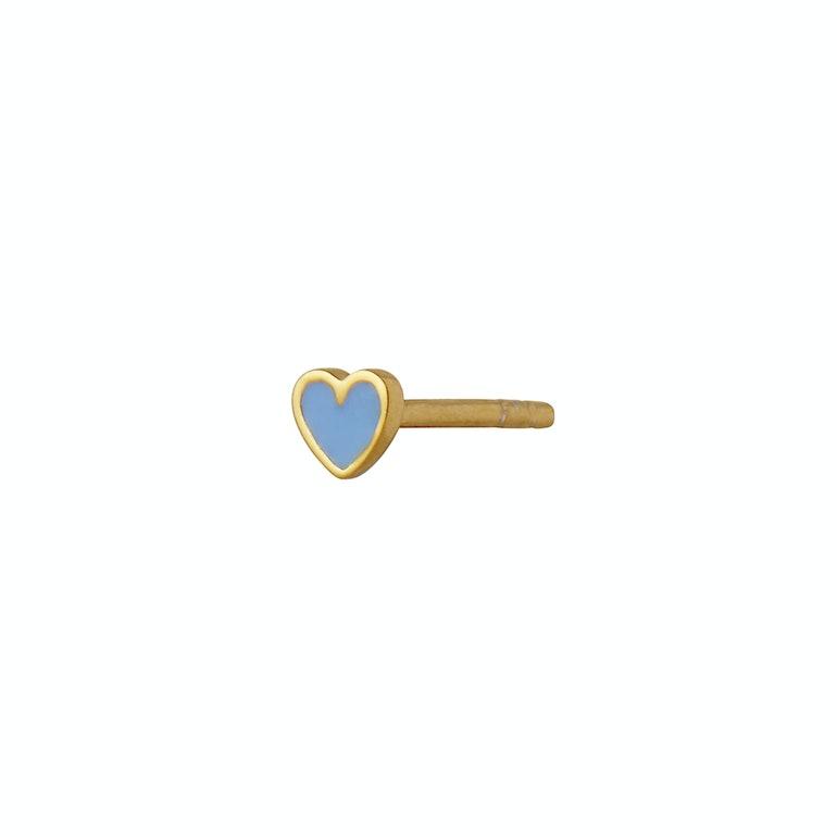 Petit Love Heart Earstick Light Blue von STINE A Jewelry in Vergoldet-Silber Sterling 925