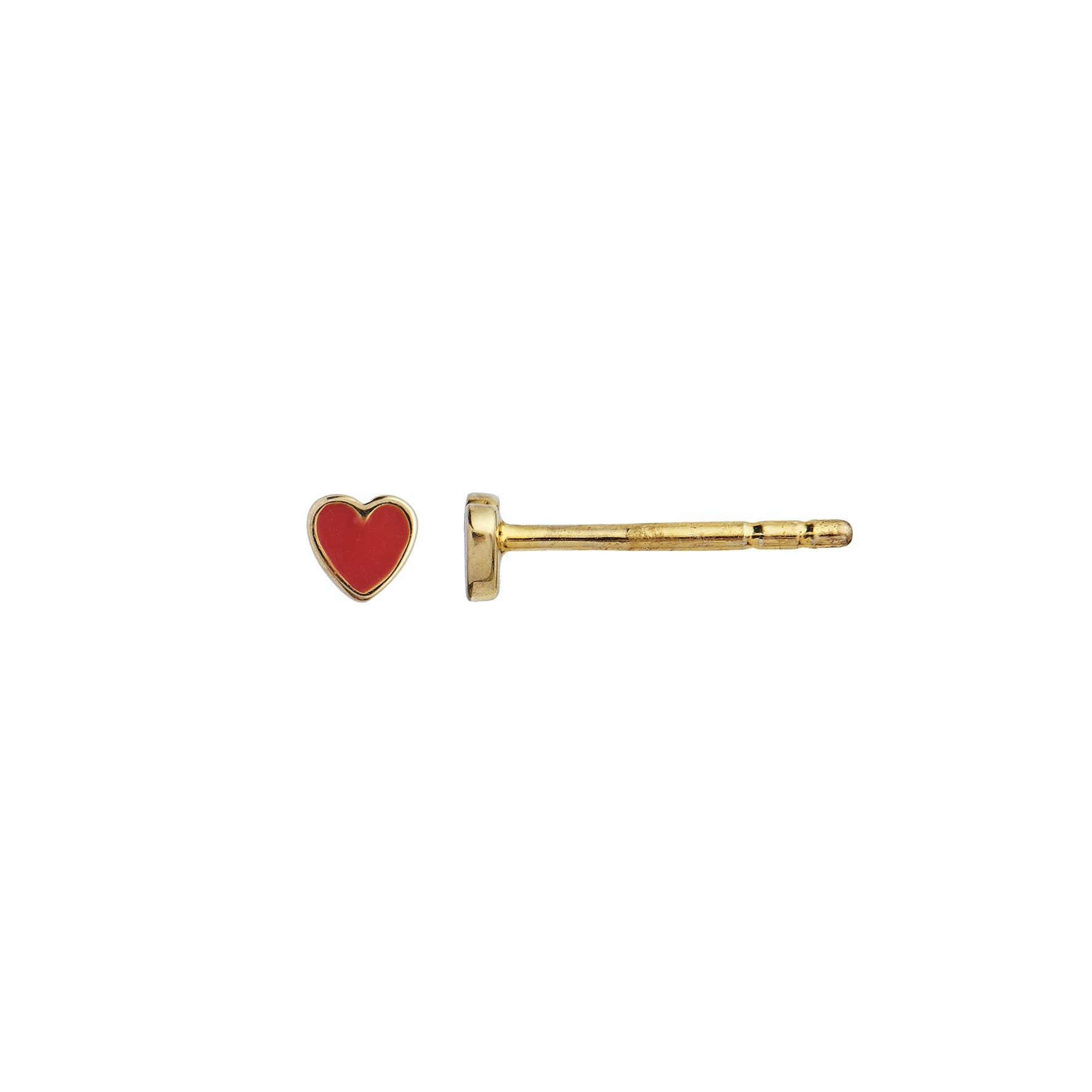 Petit Love Heart Earstick Red Coral fra STINE A Jewelry i Forgylt-Sølv Sterling 925