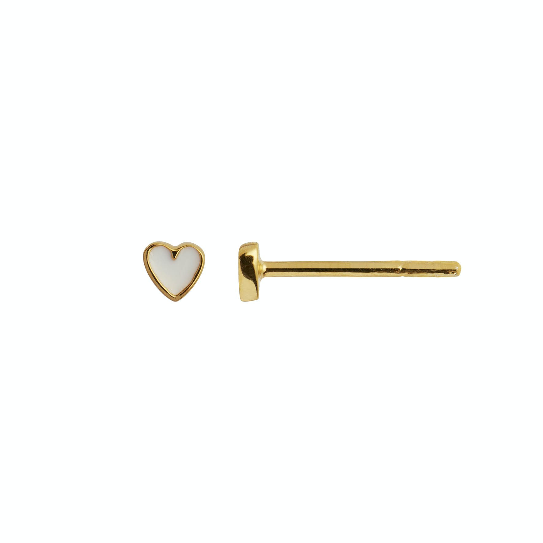 Petit Love Heart Earstick White von STINE A Jewelry in Vergoldet-Silber Sterling 925