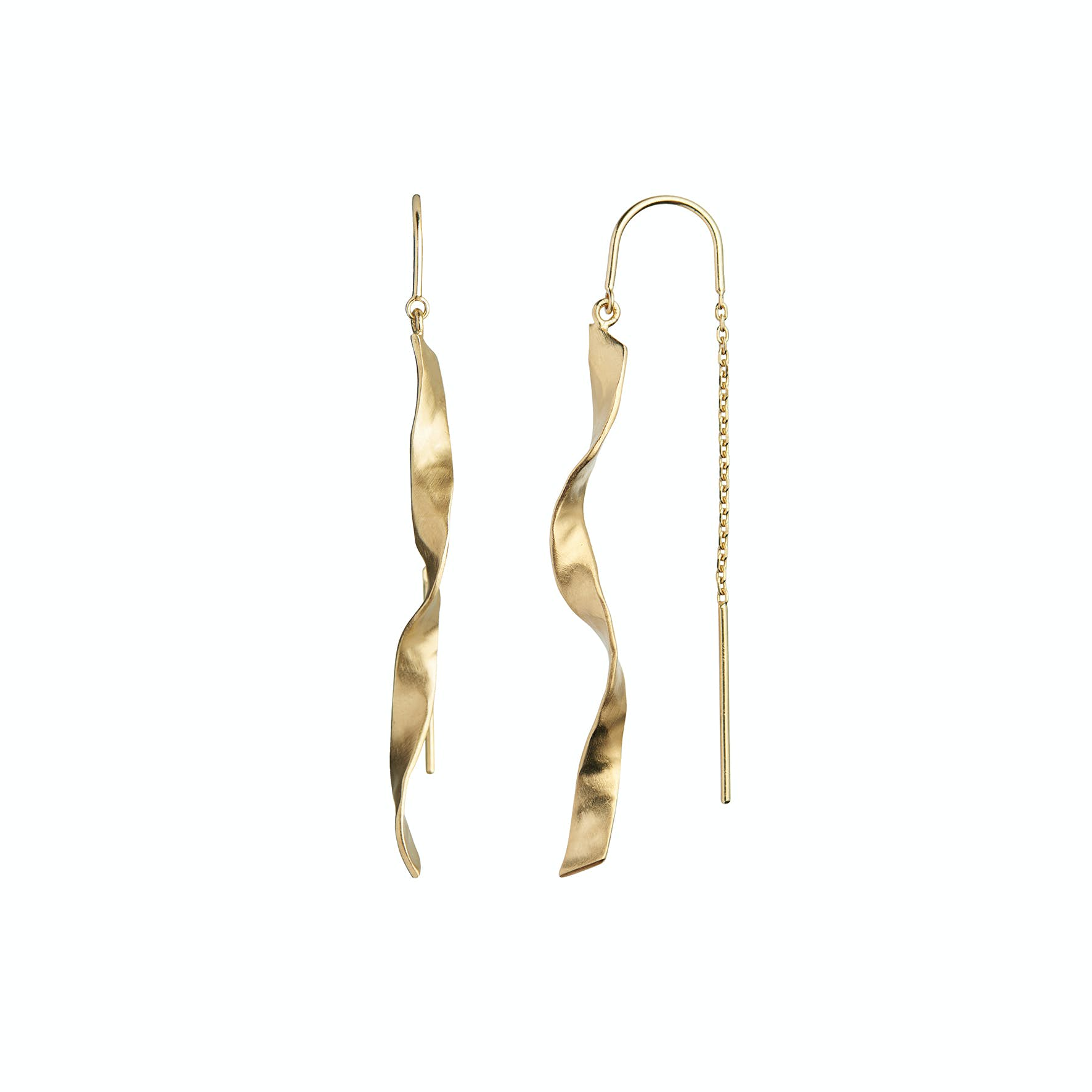 Long Twisted Hammered Earchain With Chain från STINE A Jewelry i Förgyllt-Silver Sterling 925