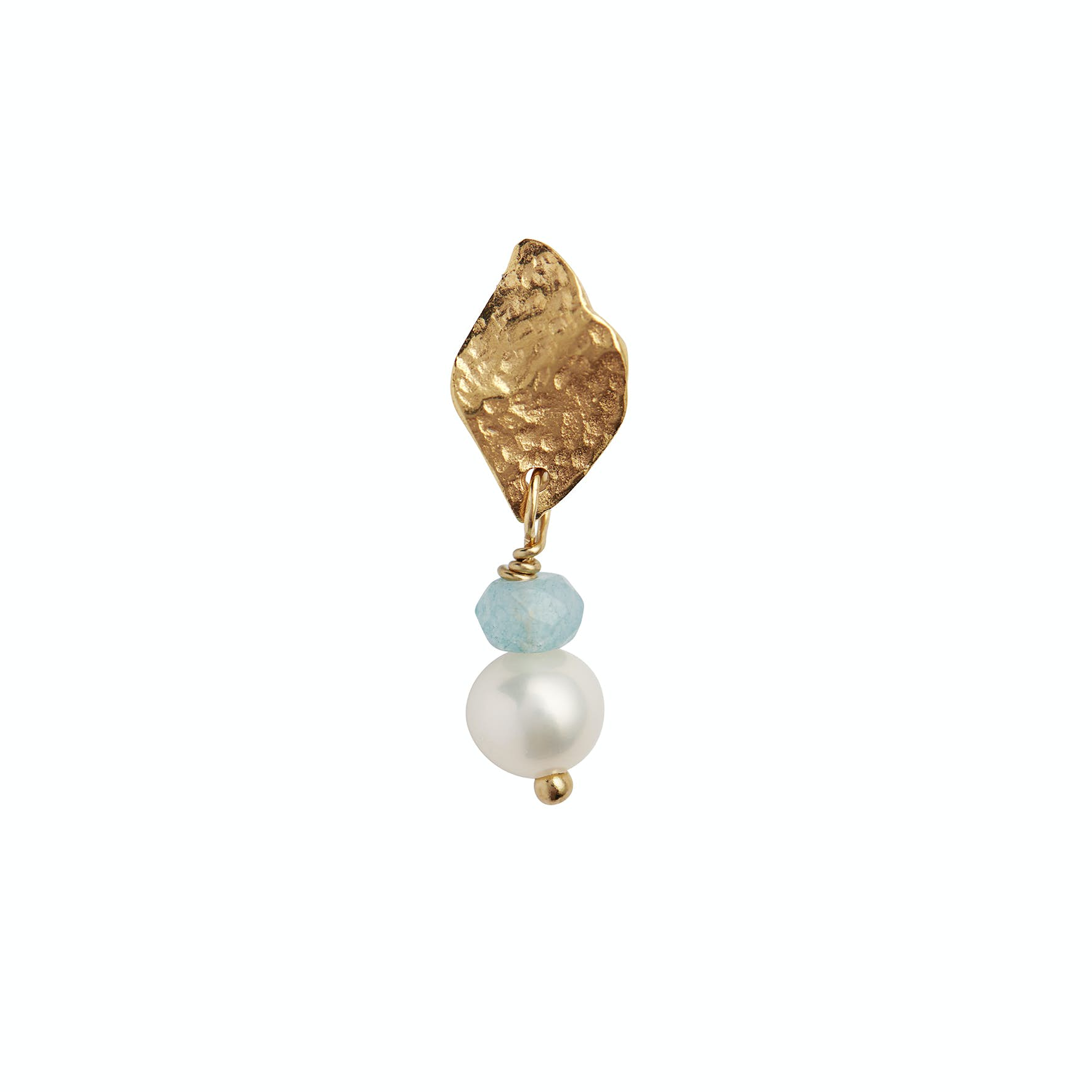 Ile De L'Amour with Pearl and Light Blue Topaz Earring fra STINE A Jewelry i Forgylt-Sølv Sterling 925