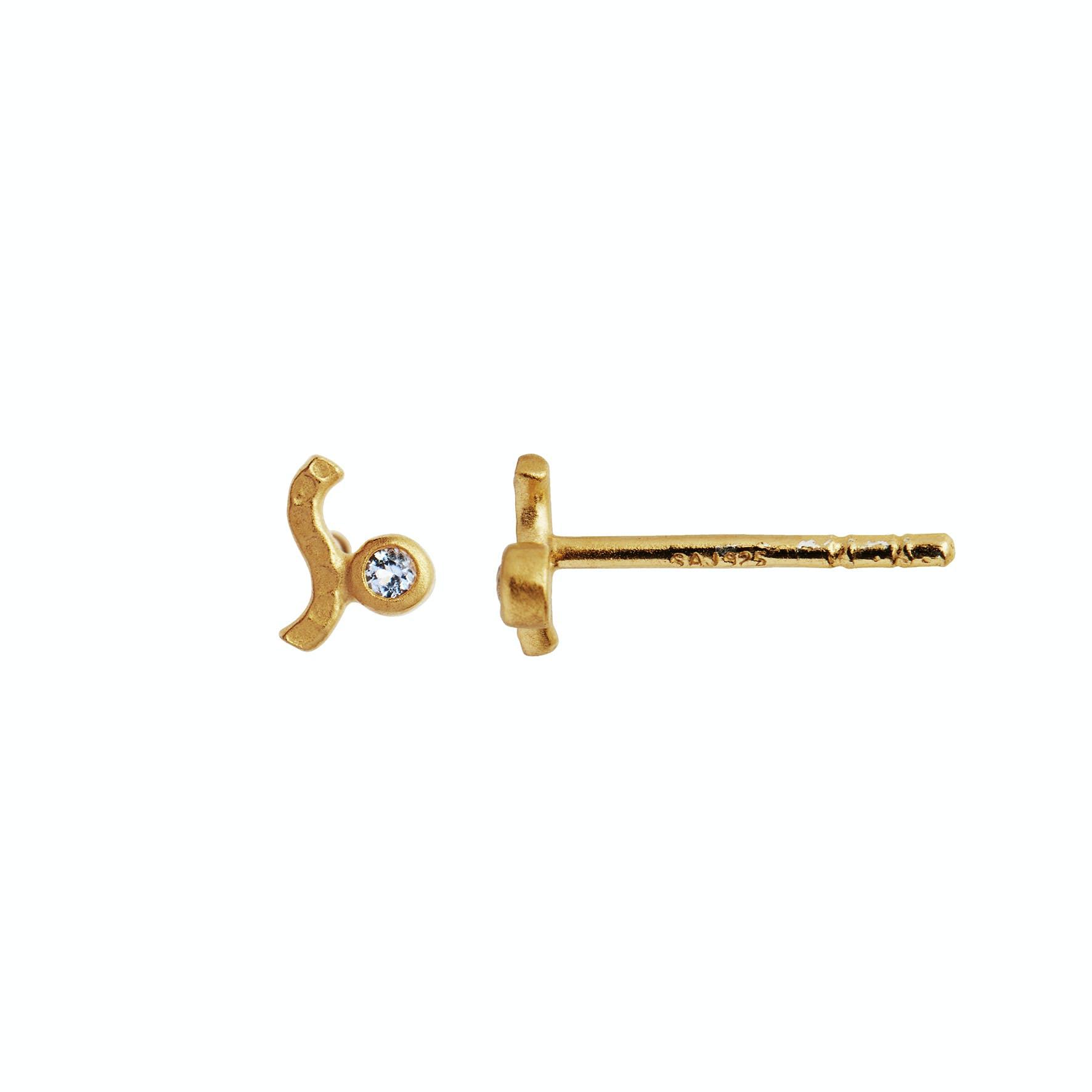 Petit Wave Earstick With Stone - Light Blue fra STINE A Jewelry i Forgyldt-Sølv Sterling 925