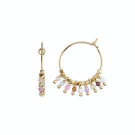 Petit Rainbow Hoop With Stones - Pastel Mix fra STINE A Jewelry i Forgyldt-Sølv Sterling 925