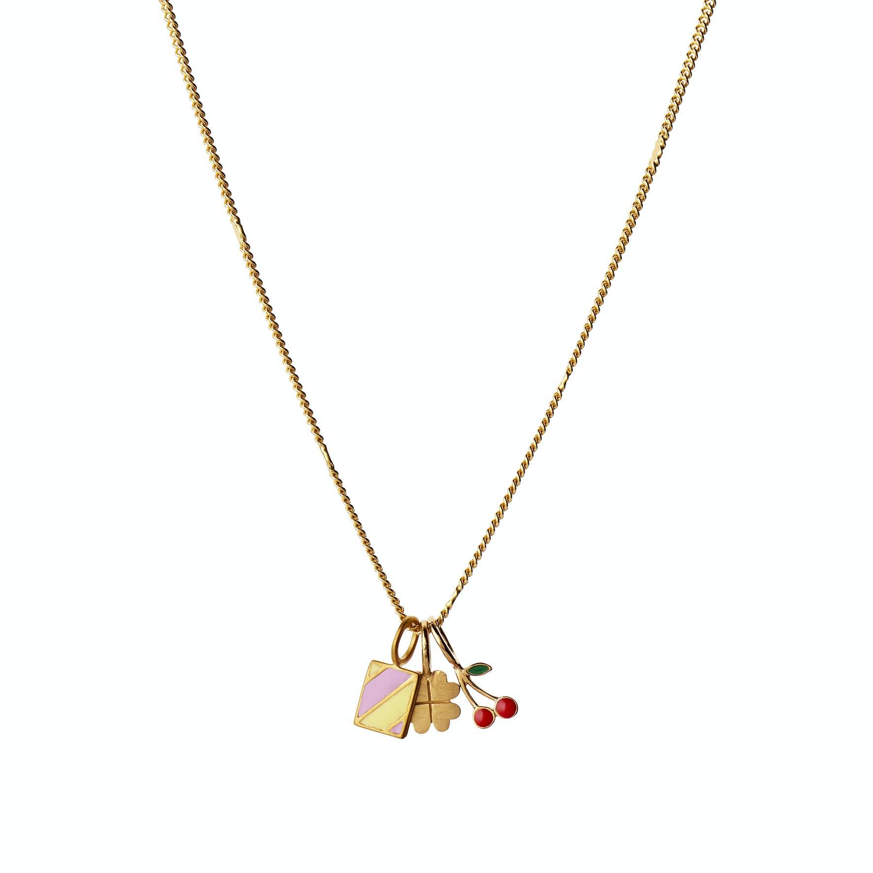 Petit Cherry Pendant Enamel von STINE A Jewelry in Vergoldet-Silber Sterling 925