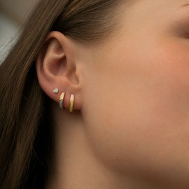 Petit Circus Huggie Earring Yellow & Pink Enamel