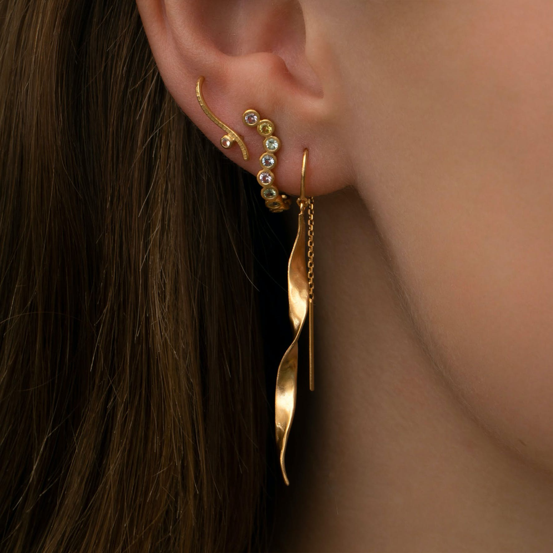 Candy Sparkle Hugging Creol - Right from STINE A Jewelry in Goldplated-Silver Sterling 925