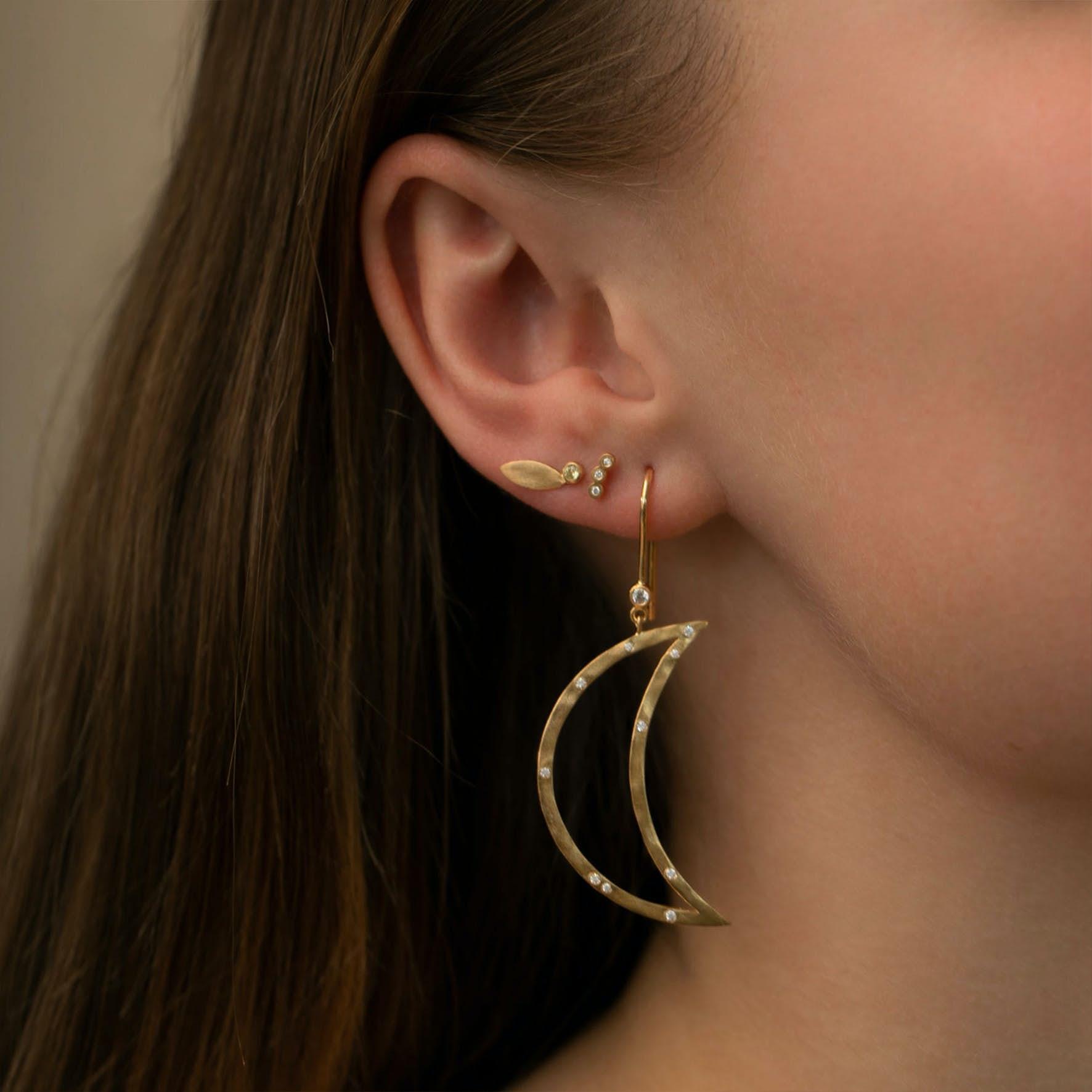 Big Bella Moon with Stones Earring