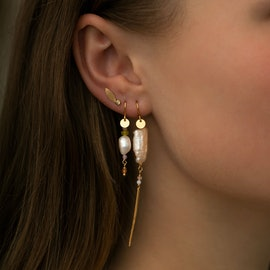 Long Baroque Pearl Earring Peach Sorbet