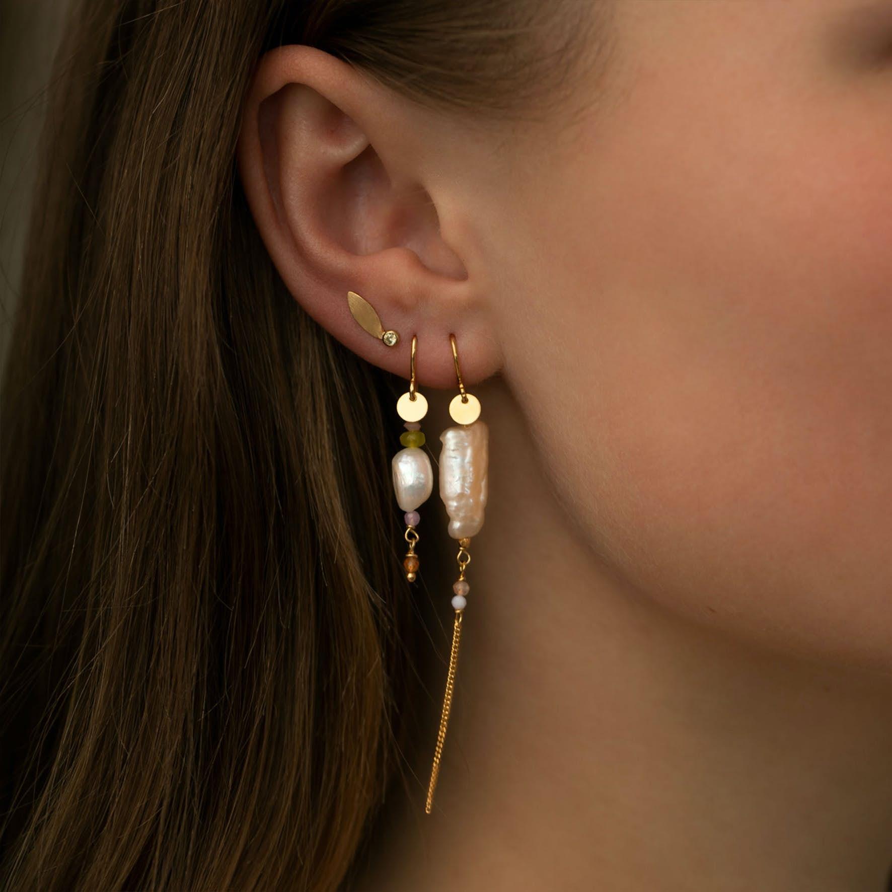 Big Dot Leaf Earstick Light Peridot von STINE A Jewelry in Silber Sterling 925|