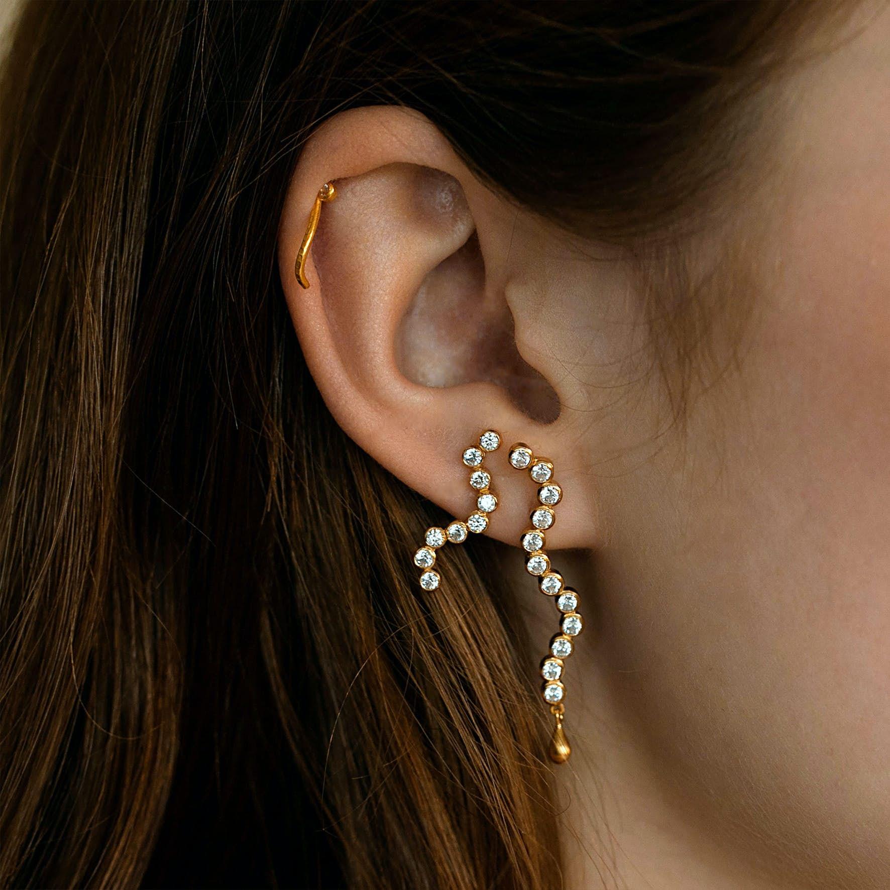 Midnight Sparkle Long Earring- Left fra STINE A Jewelry i Forgyldt-Sølv Sterling 925