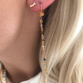 Petit Gemstones Earring With Long Chain - Berry Mix from STINE A Jewelry in Goldplated-Silver Sterling 925