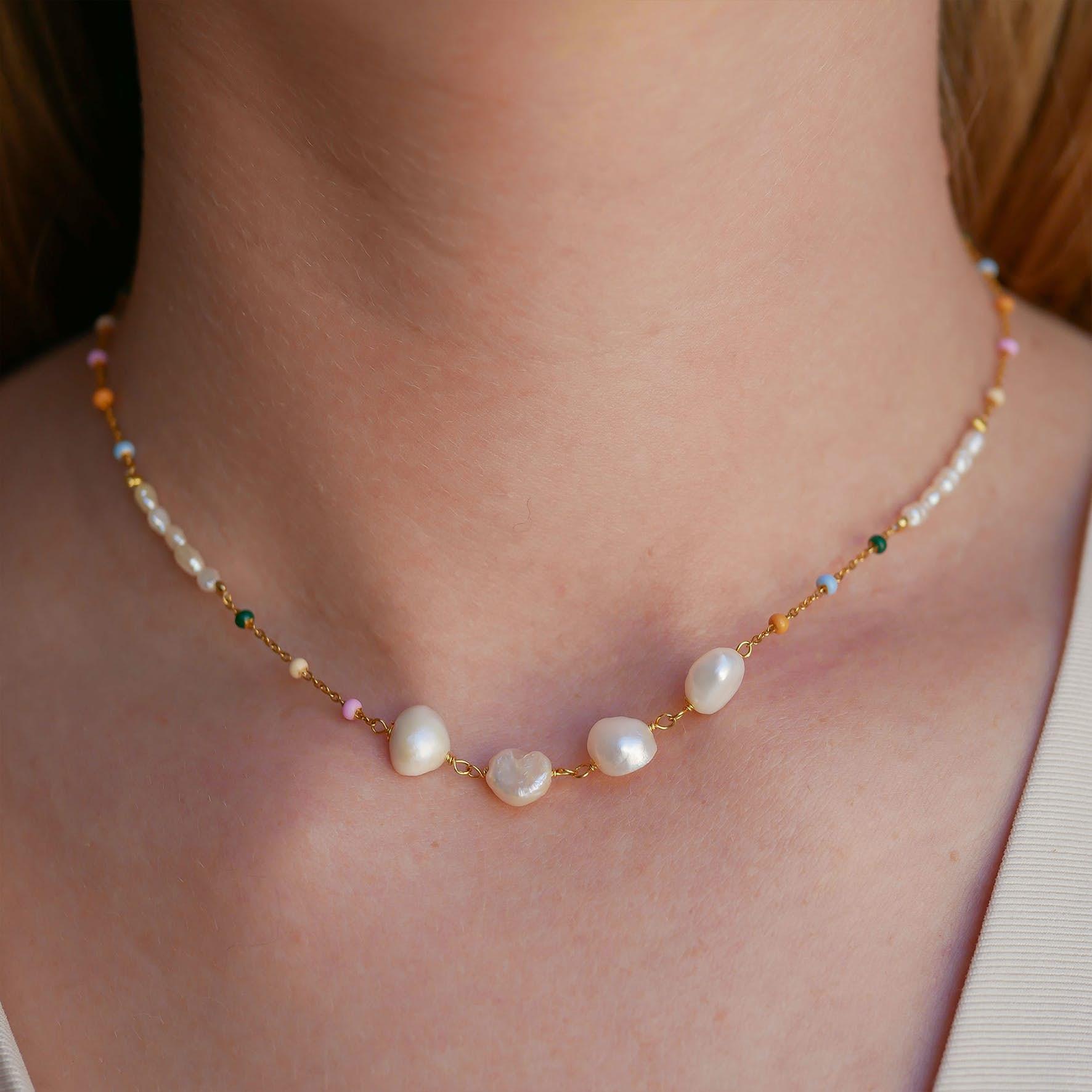 Lola Perla Necklace Dreamy Pearl from Enamel Copenhagen in Goldplated-Silver Sterling 925