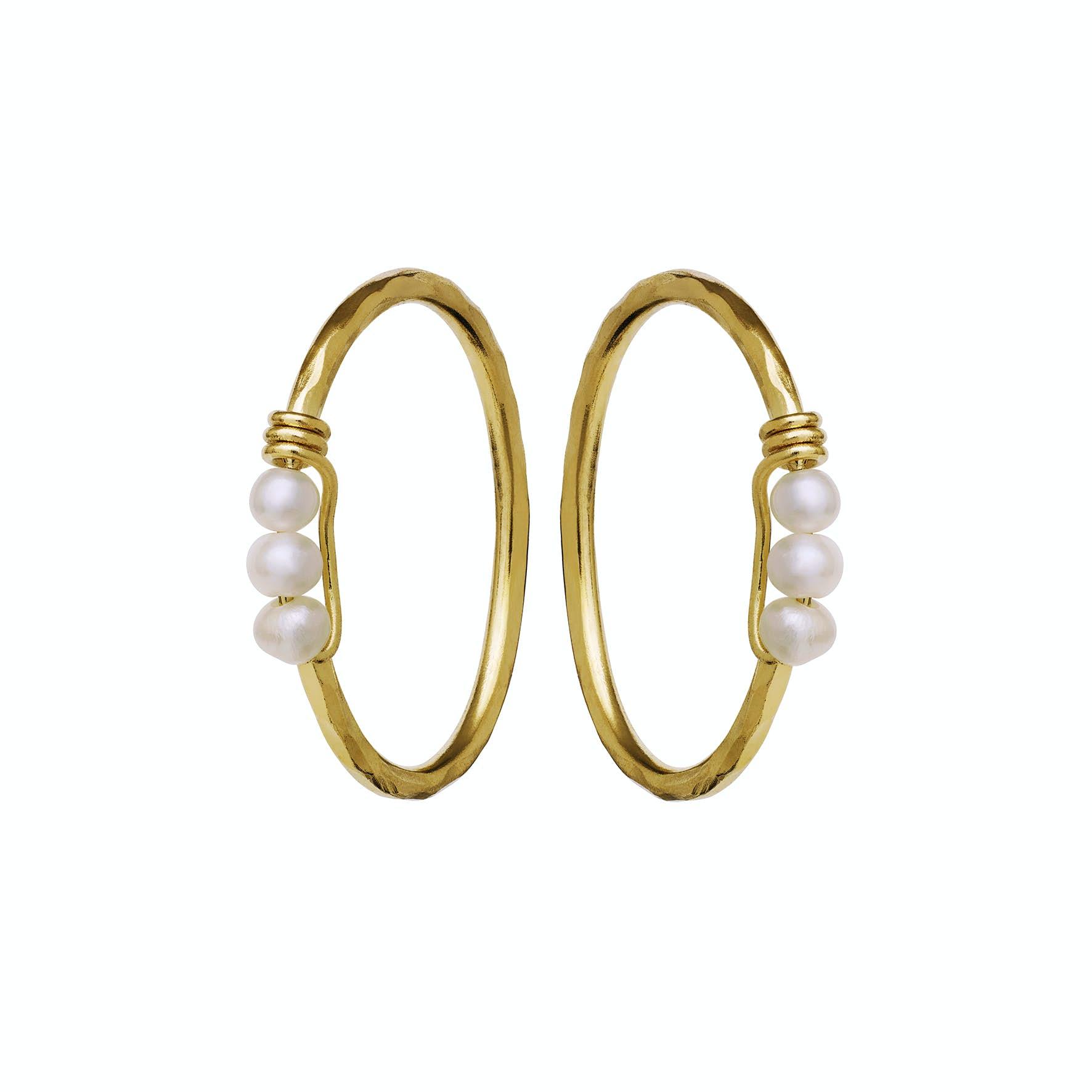 Dakota Earrings fra Maanesten i Forgyldt-Sølv Sterling 925|Freshwater Pearl