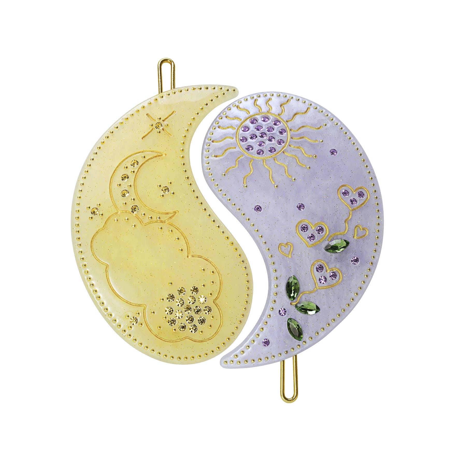 Yin Yang Hairclip Glitter Yellow and Lavender