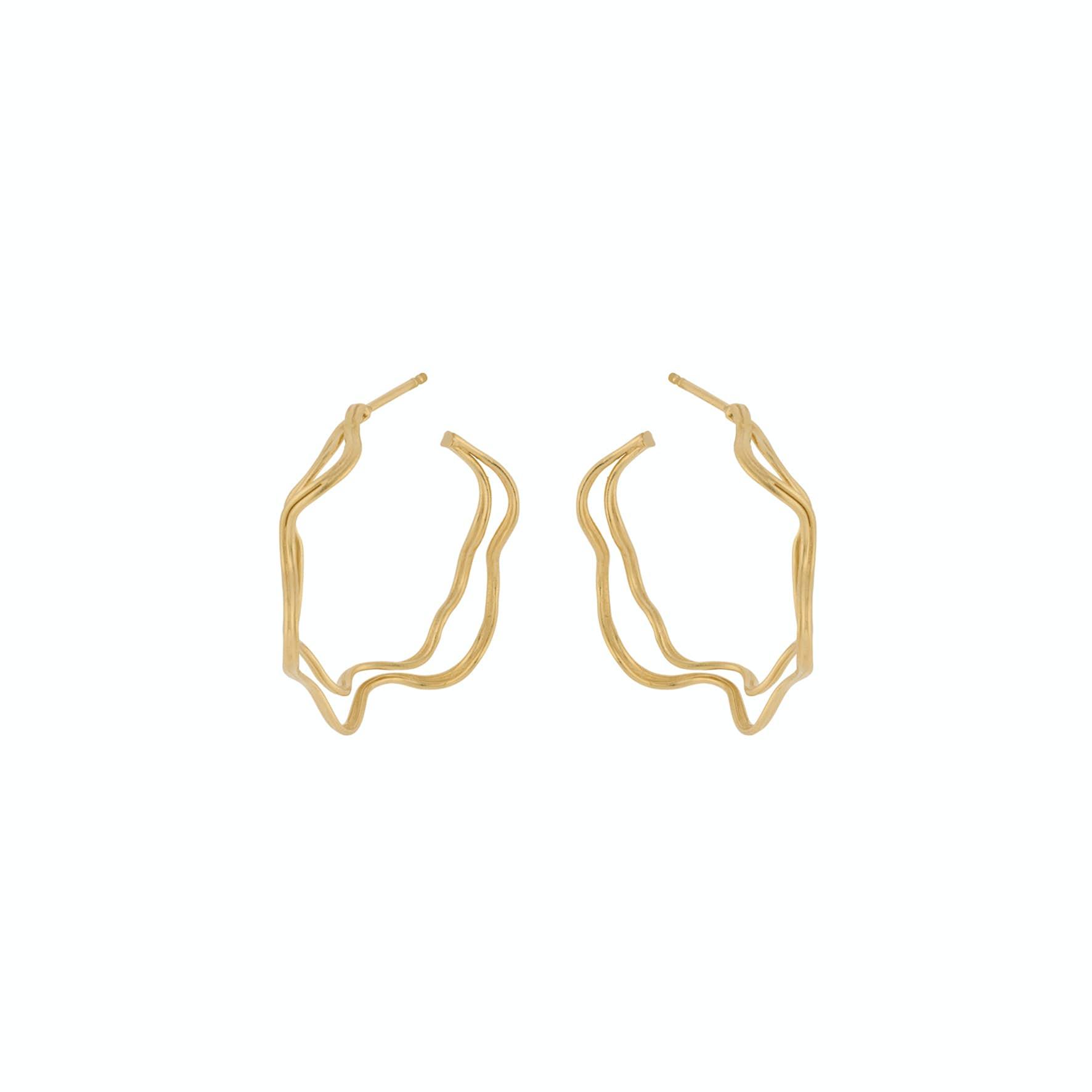 Double Wave Hoops från Pernille Corydon i Förgyllt-Silver Sterling 925