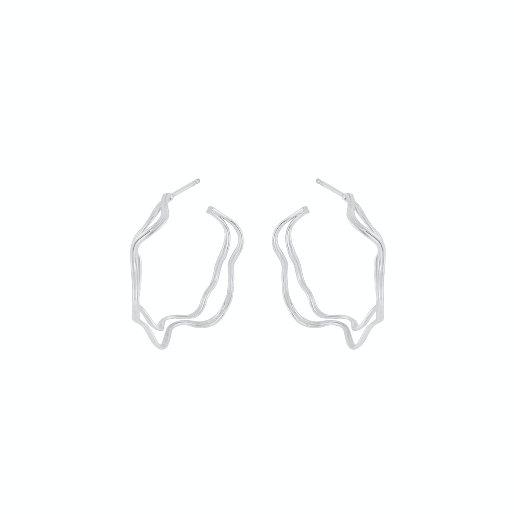 Double Wave Hoops from Pernille Corydon in Silver Sterling 925