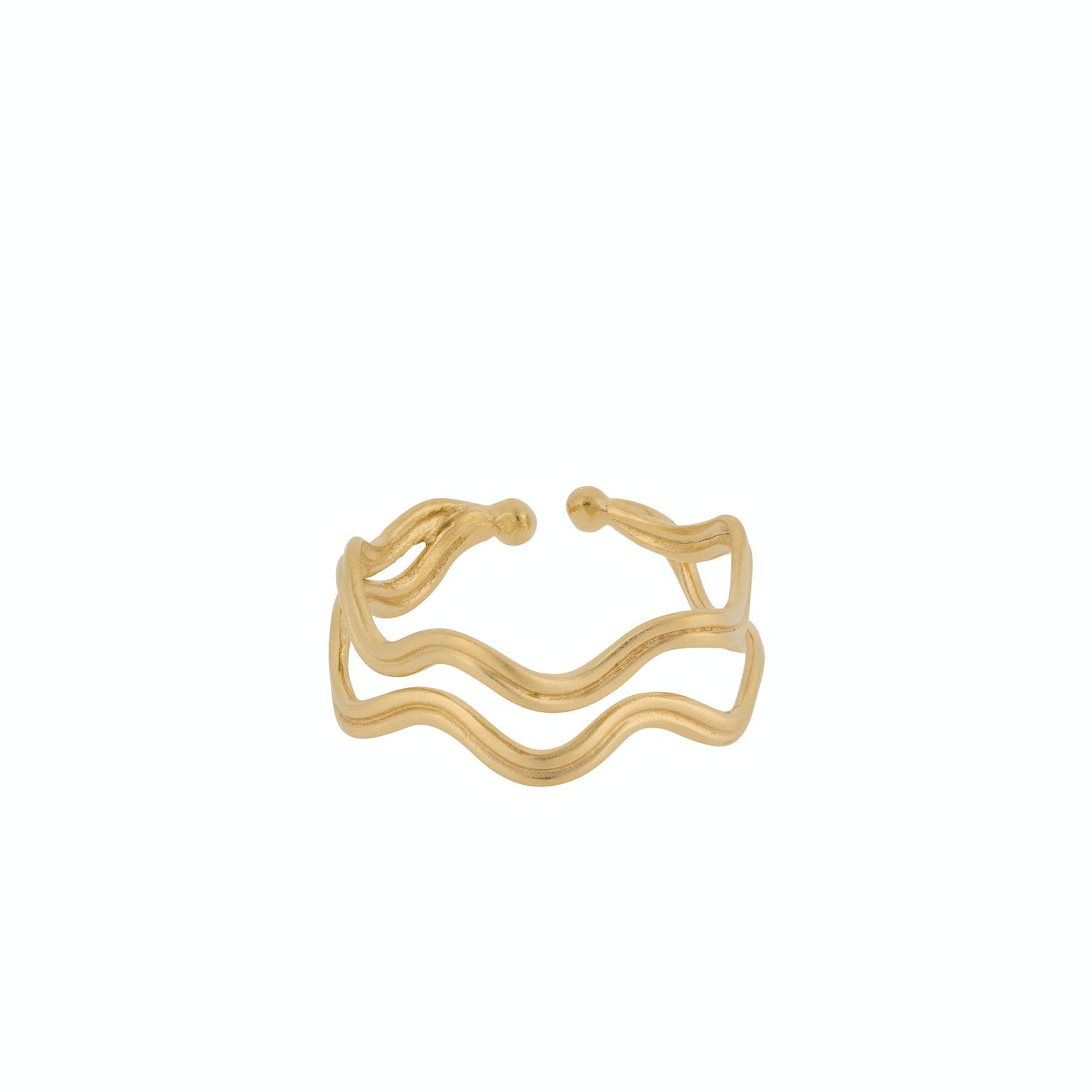 Double Wave Ring fra Pernille Corydon i Forgylt-Sølv Sterling 925