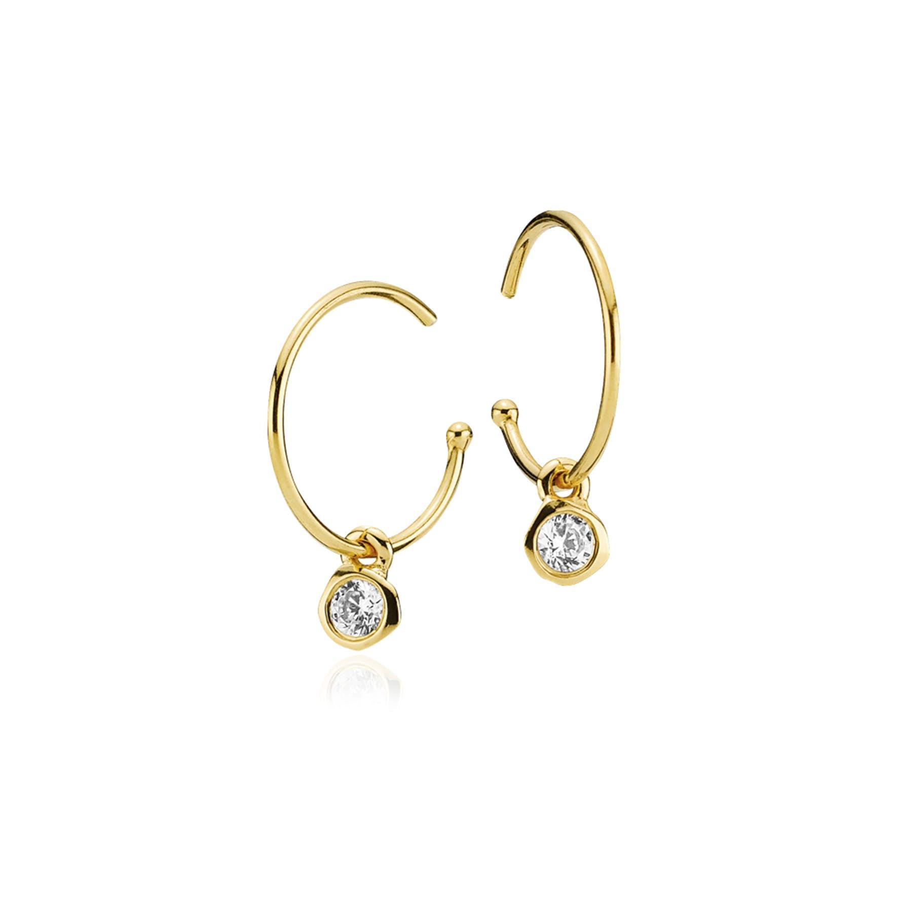 Passion Clear Crystal Earrings fra Izabel Camille i Forgylt-Sølv Sterling 925
