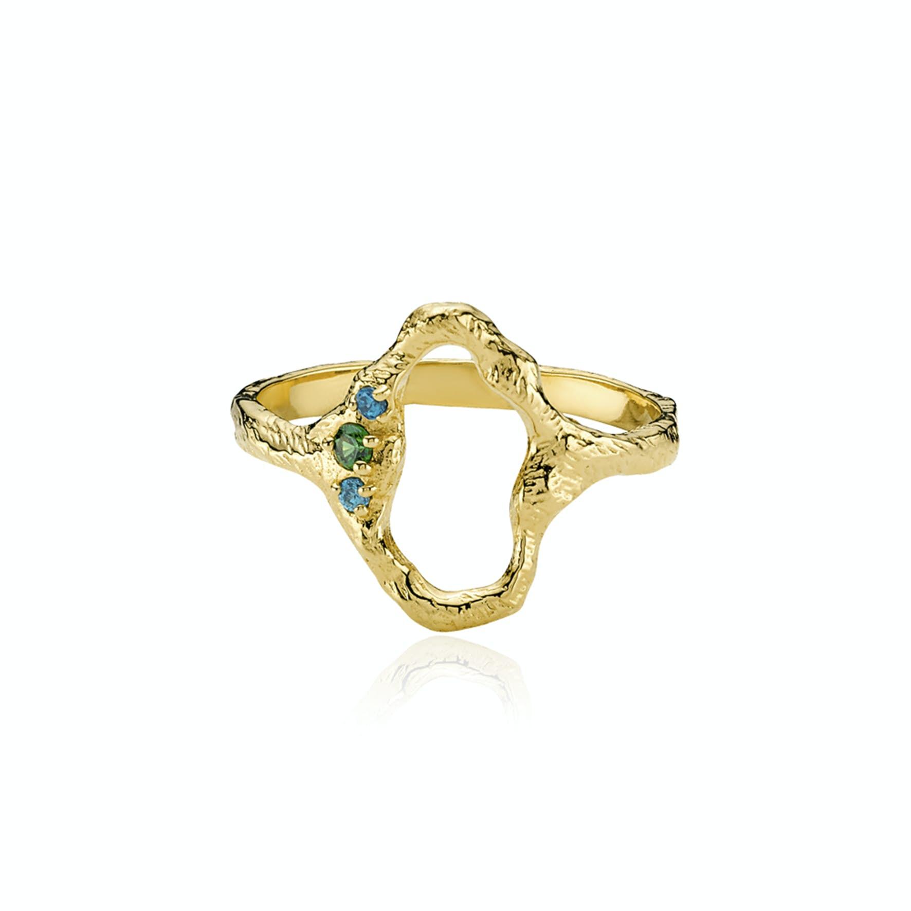 Ocean Ring fra Izabel Camille i Forgyldt-Sølv Sterling 925