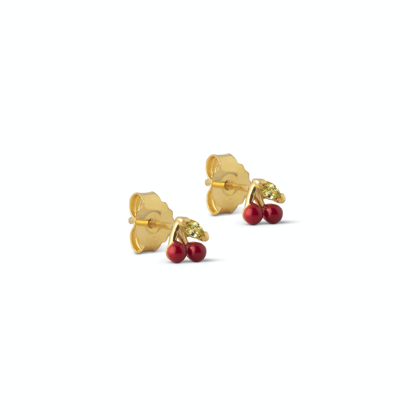 Cherry Studs Red from Enamel Copenhagen in Goldplated-Silver Sterling 925