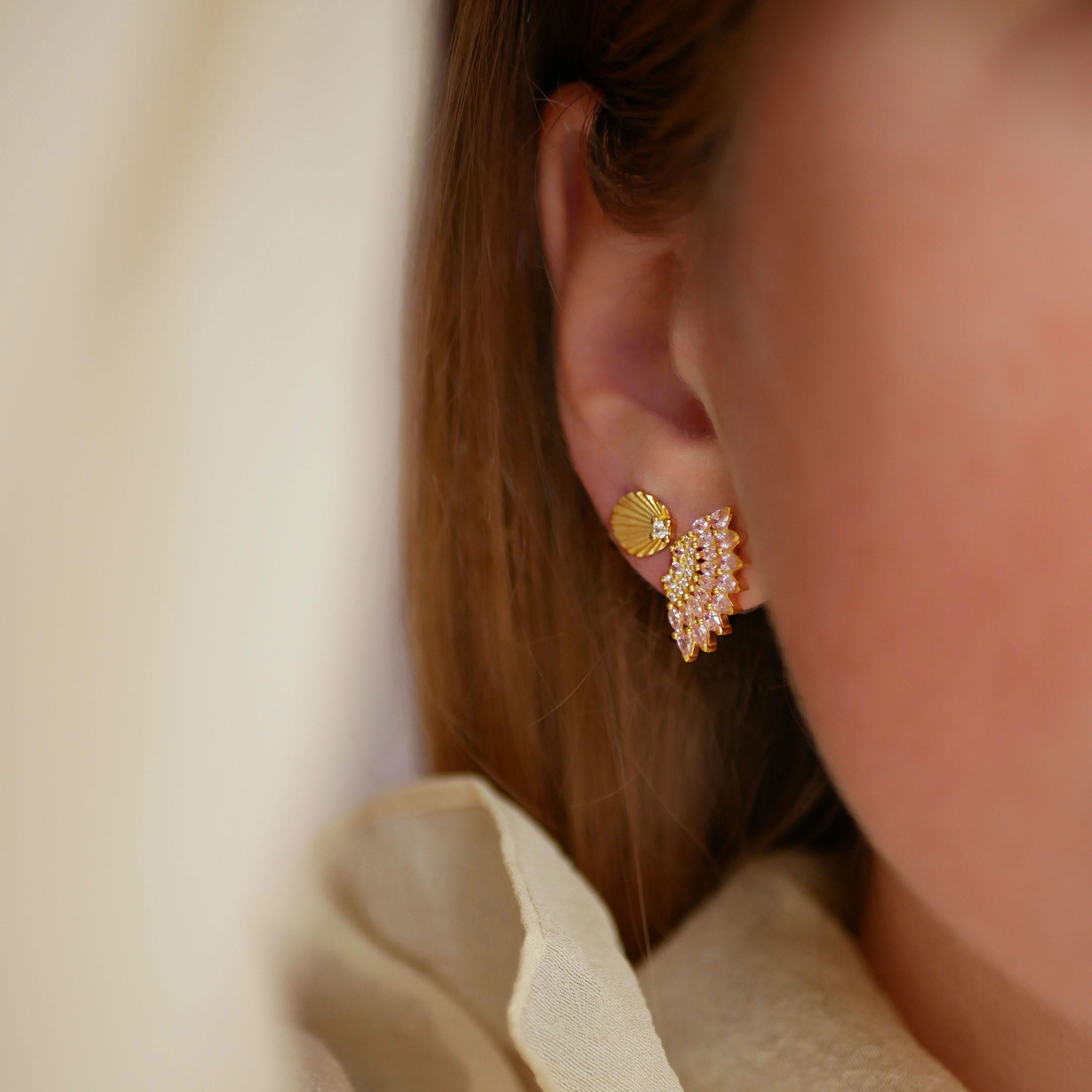 Tilly Earrings Light Pink von Enamel Copenhagen in Vergoldet-Silber Sterling 925