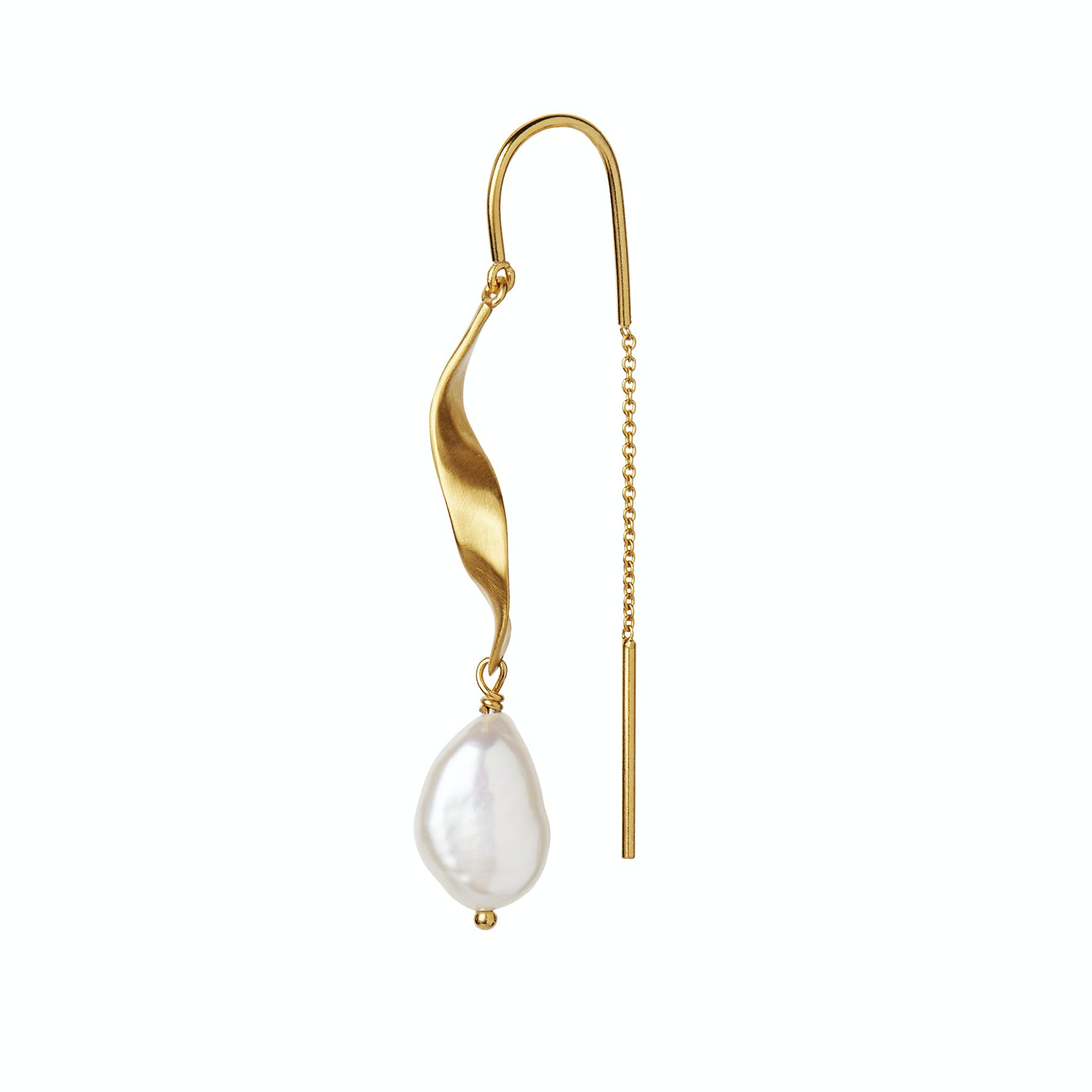 Long Twisted Earring With Baroque Pearl från STINE A Jewelry i Förgyllt-Silver Sterling 925
