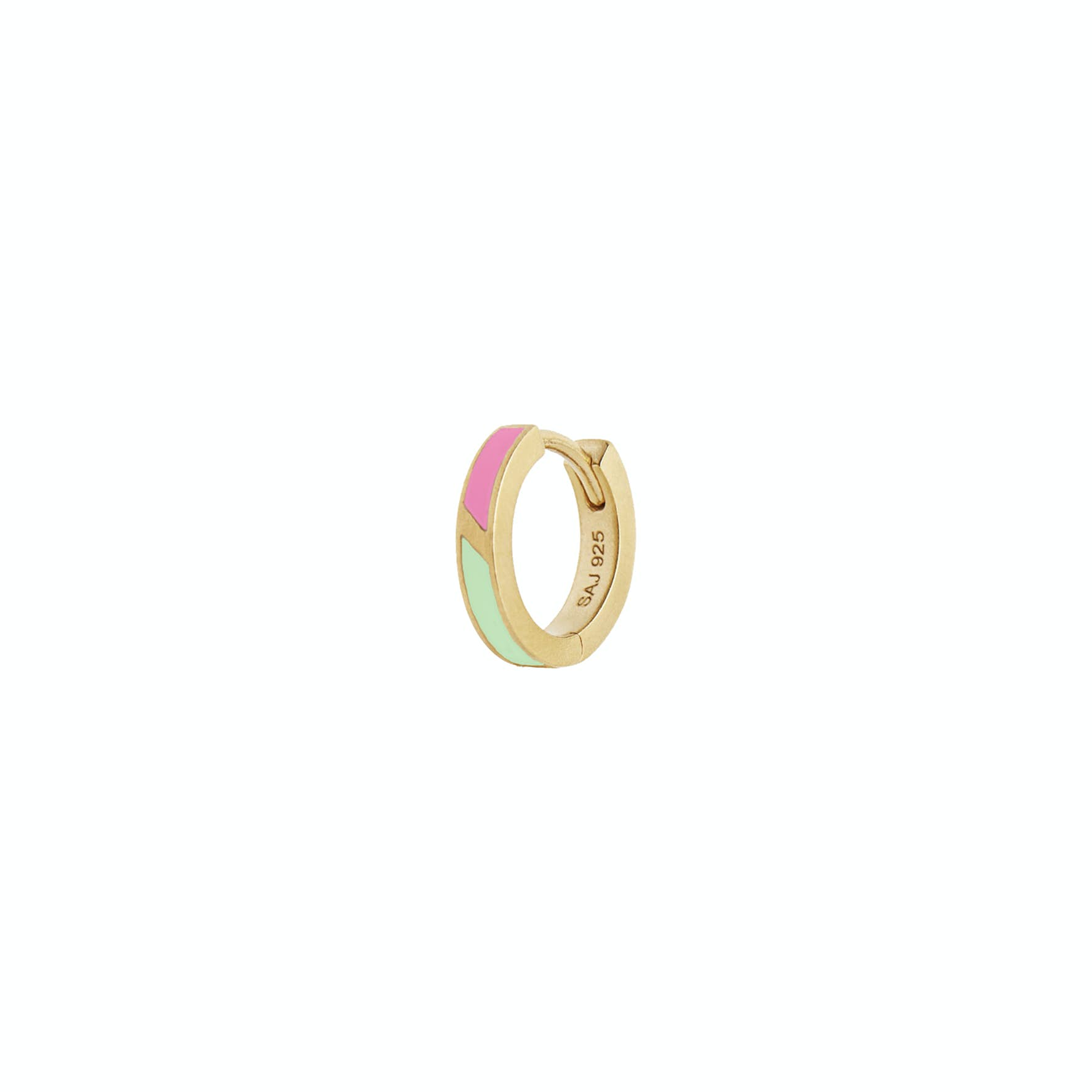 Petit Circus Huggie Earring Fresh Pink & Mint Green Enamel fra STINE A Jewelry i Forgyldt-Sølv Sterling 925