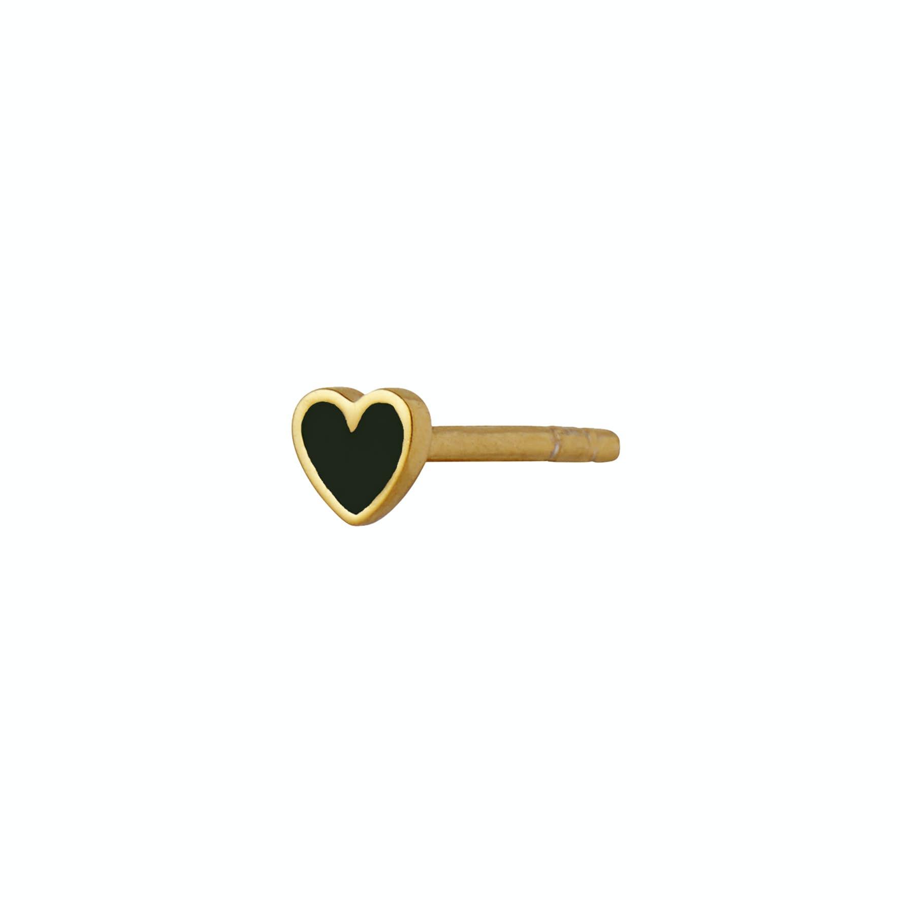 Petit Love Heart Earstick Black fra STINE A Jewelry i Forgylt-Sølv Sterling 925