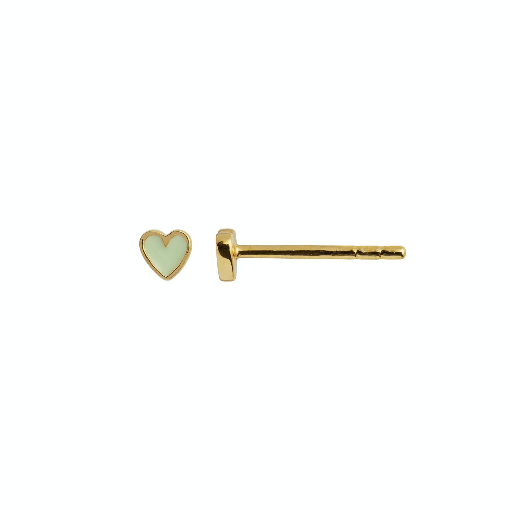 Petit Love Heart Earstick Olive Green fra STINE A Jewelry i Forgyldt-Sølv Sterling 925