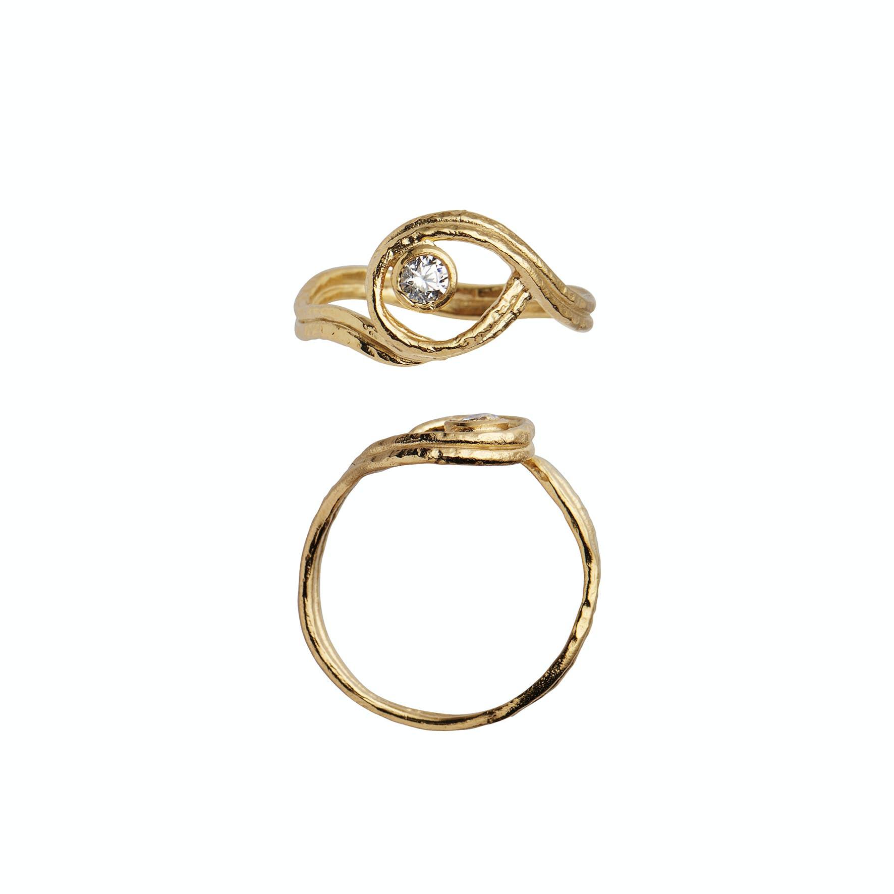 Balance Ring With Stone fra STINE A Jewelry i Forgylt-Sølv Sterling 925