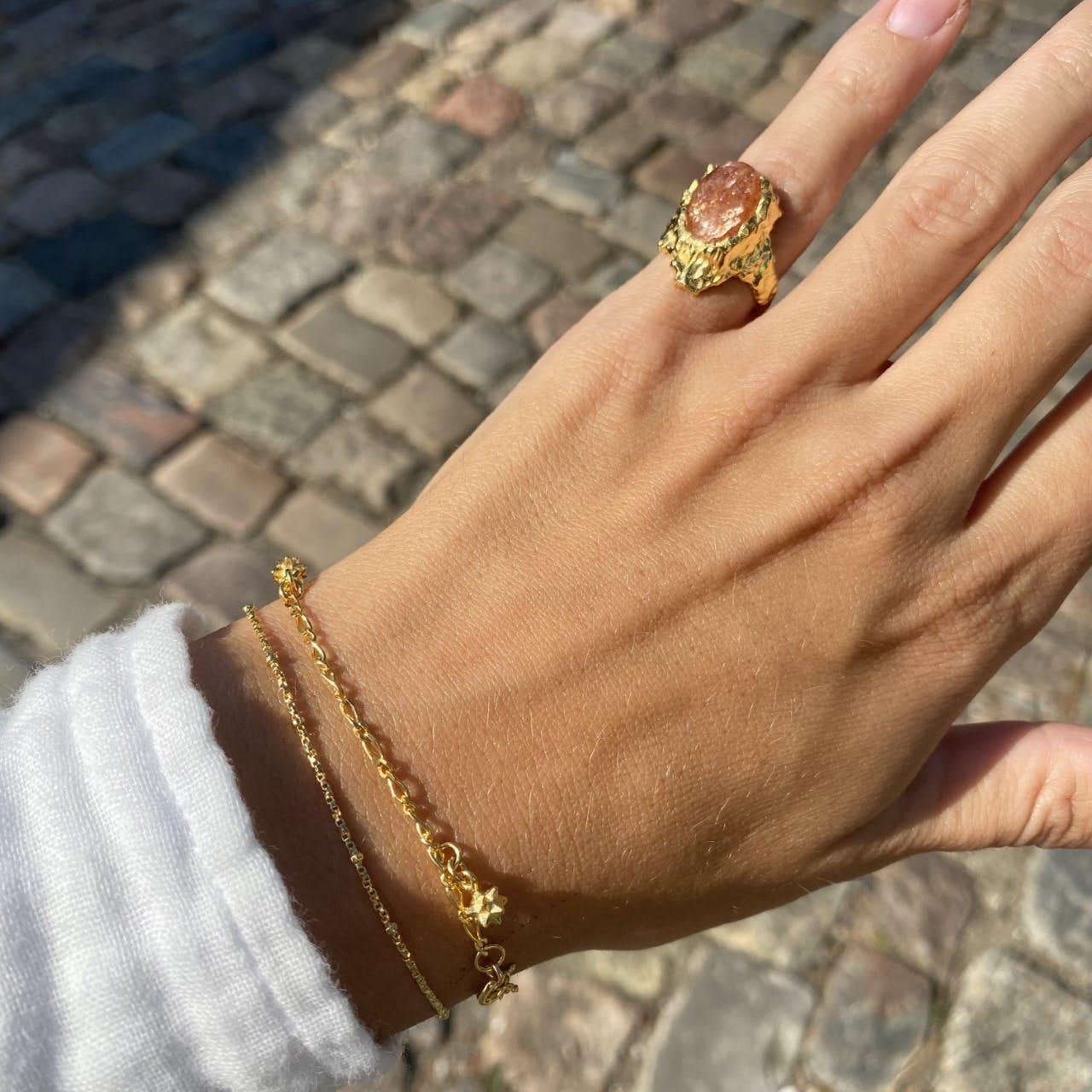 Goddess Ring Sunstone fra Maanesten i Forgylt-Sølv Sterling 925