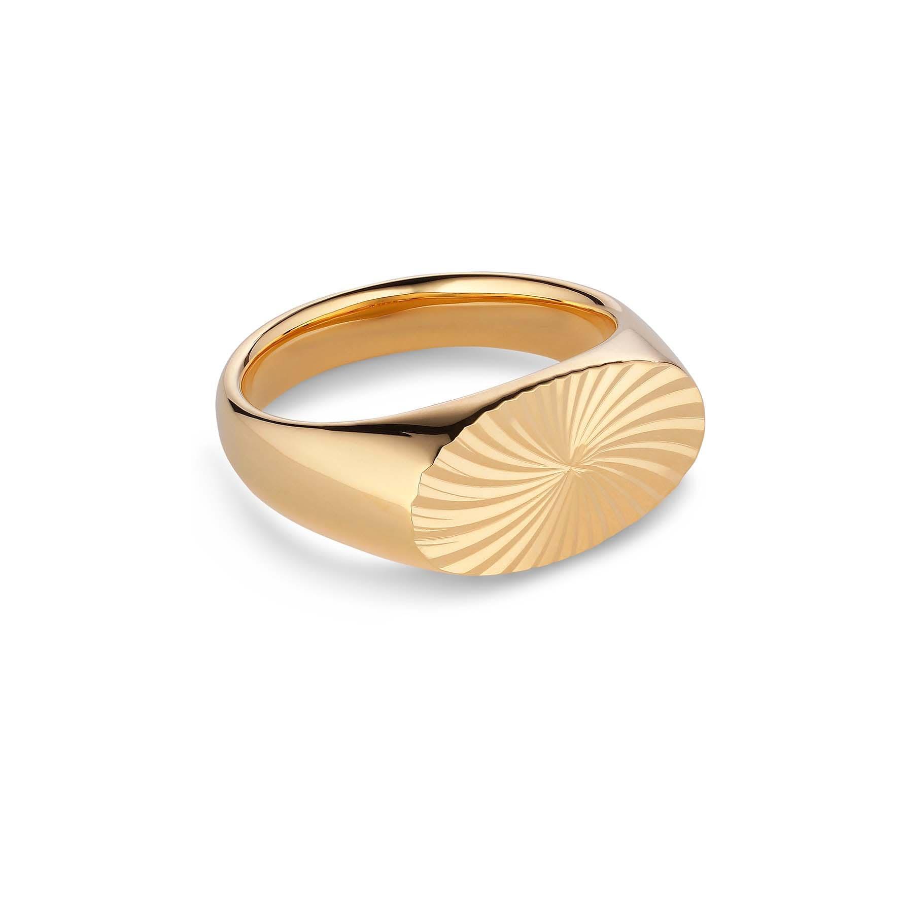 Reflection Signet Ring von Jane Kønig in Vergoldet-Silber Sterling 925