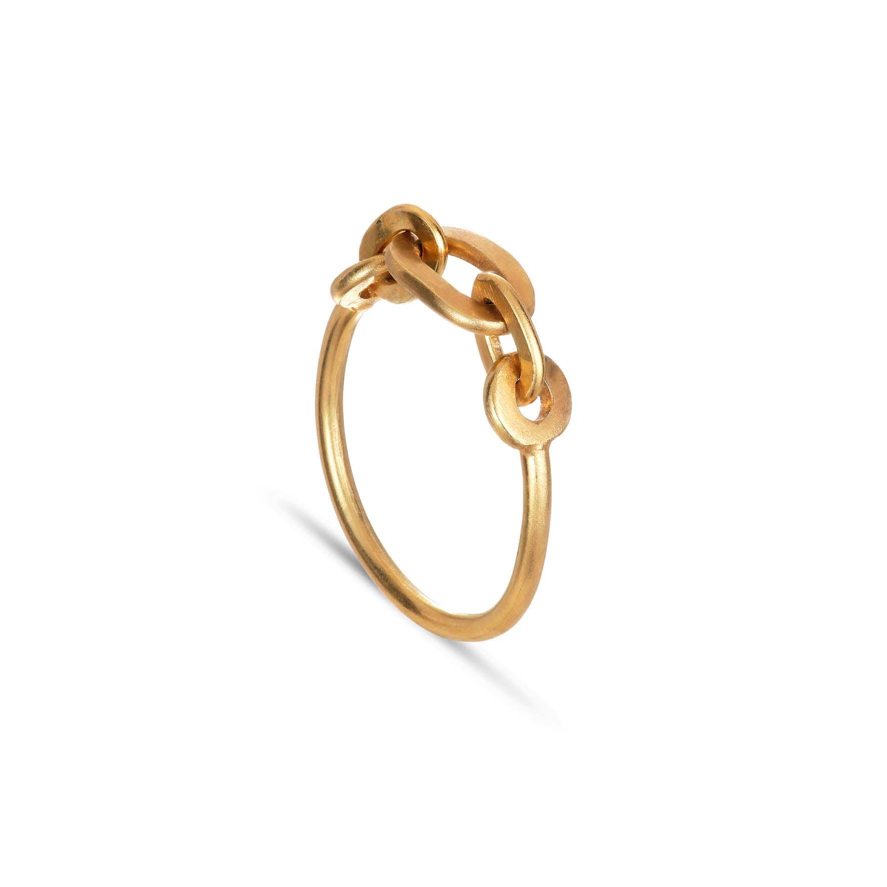 Row Chain Ring von Jane Kønig in Vergoldet-Silber Sterling 925