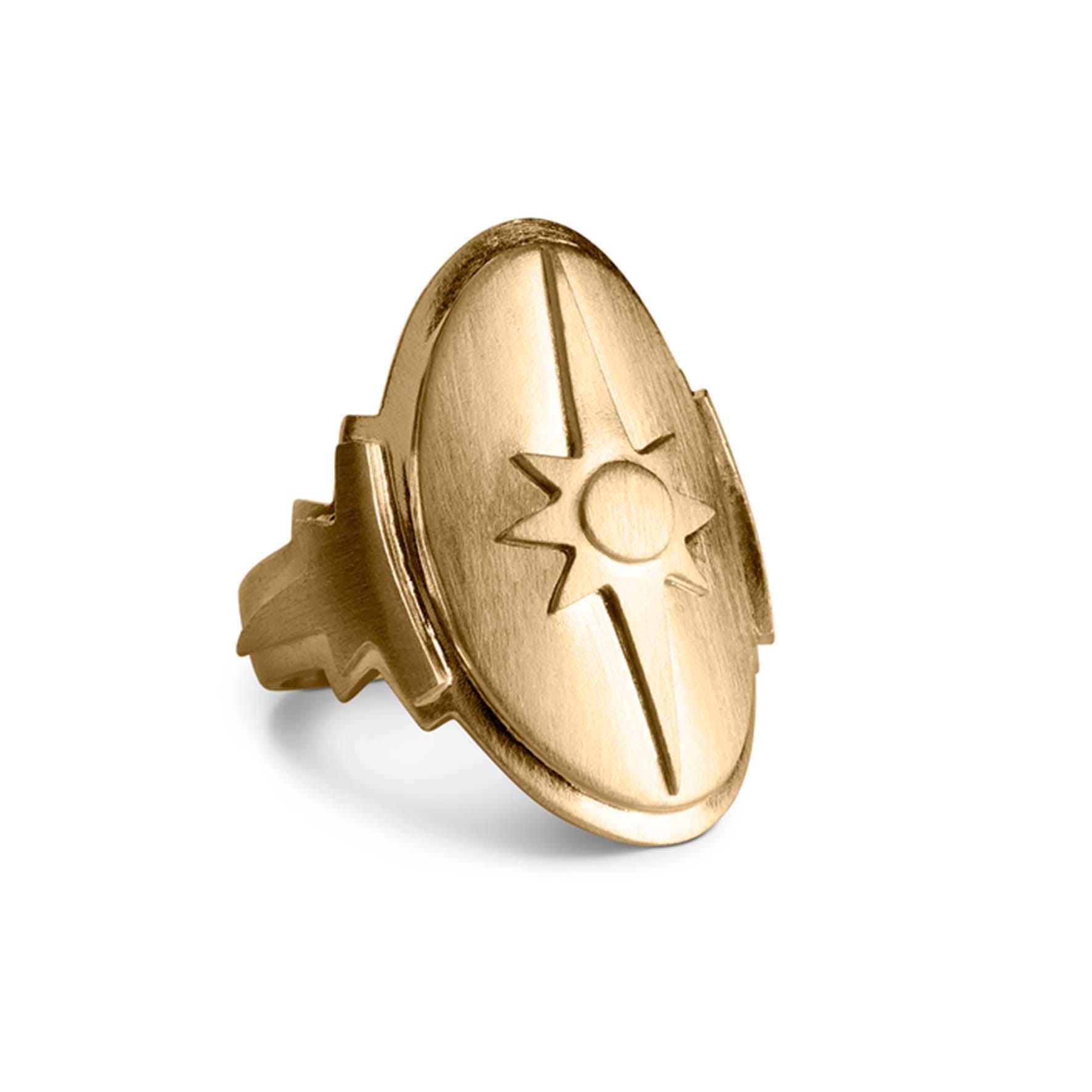 Shield Ring von Jane Kønig in Vergoldet-Silber Sterling 925