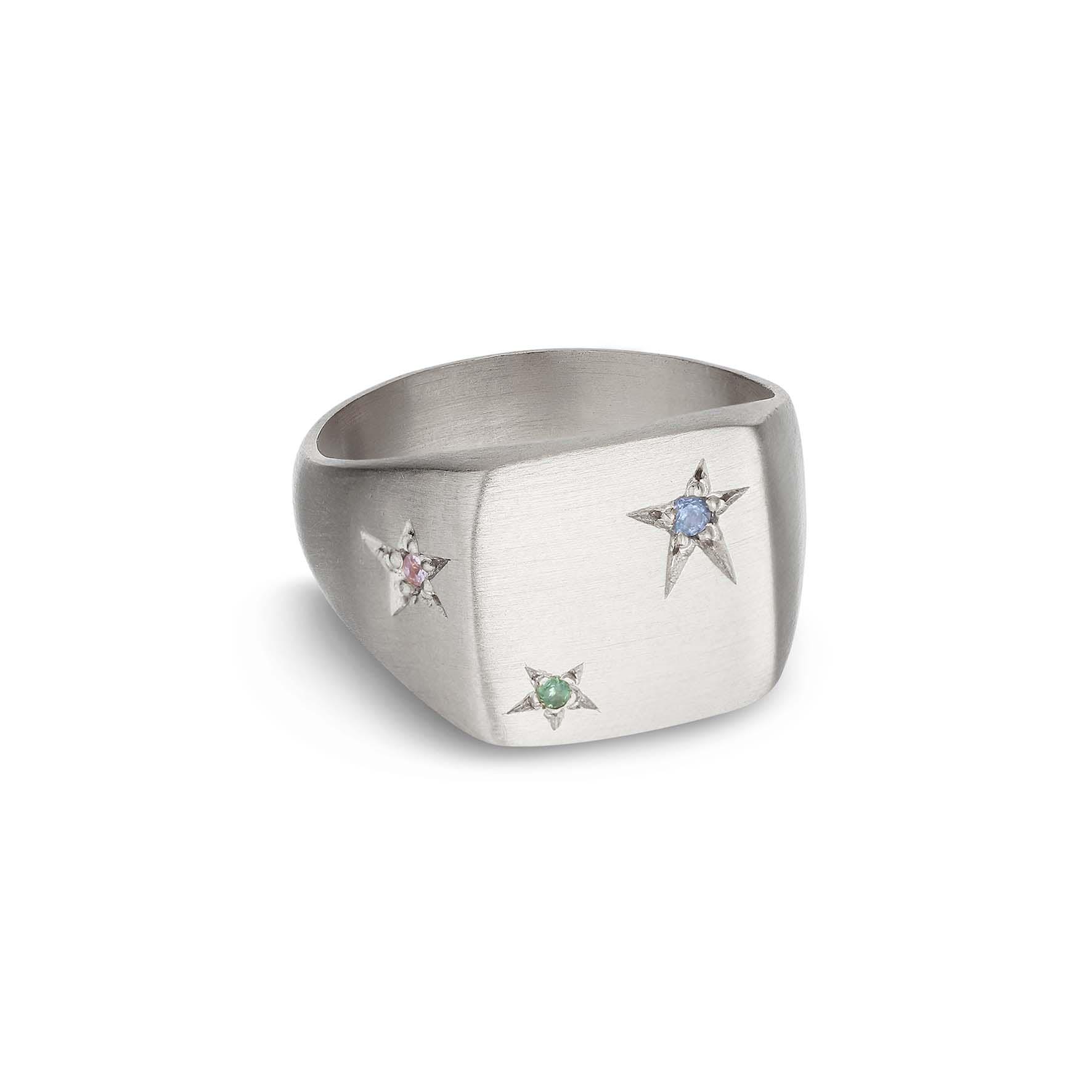 Star Signet Ring von Jane Kønig in Silber Sterling 925