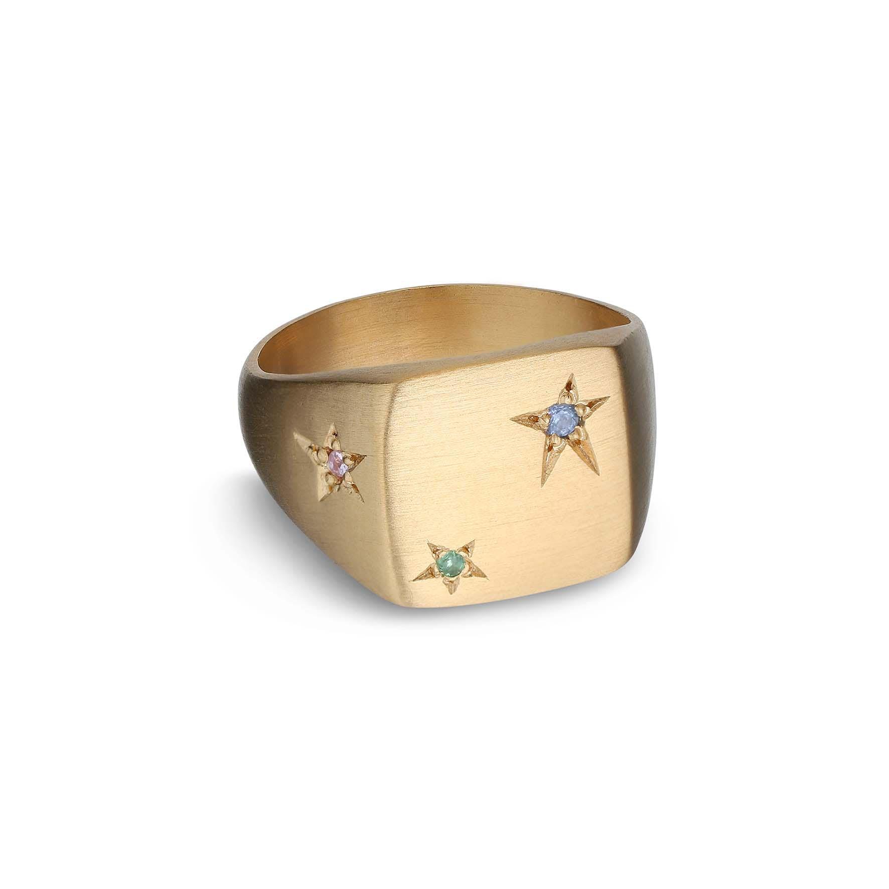 Star Signet Ring von Jane Kønig in Vergoldet-Silber Sterling 925
