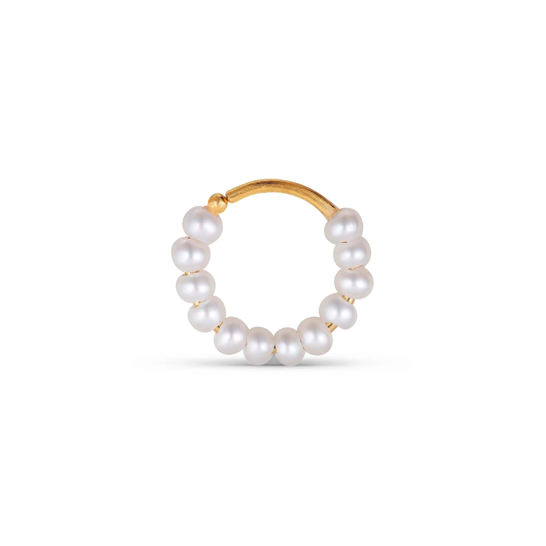 Row Pearl Twist Hoop fra Jane Kønig i Forgylt-Sølv Sterling 925
