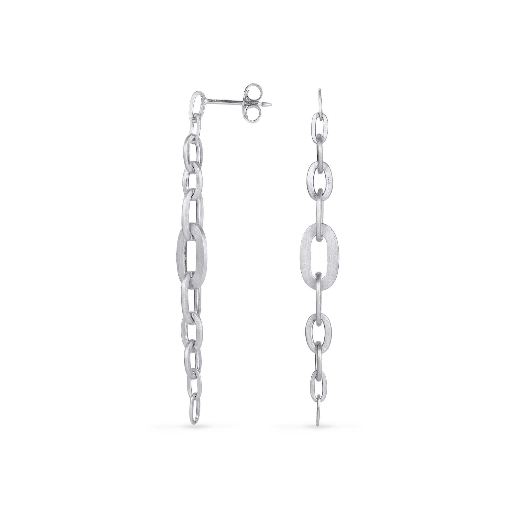 Row Chain Earring von Jane Kønig in Silber Sterling 925