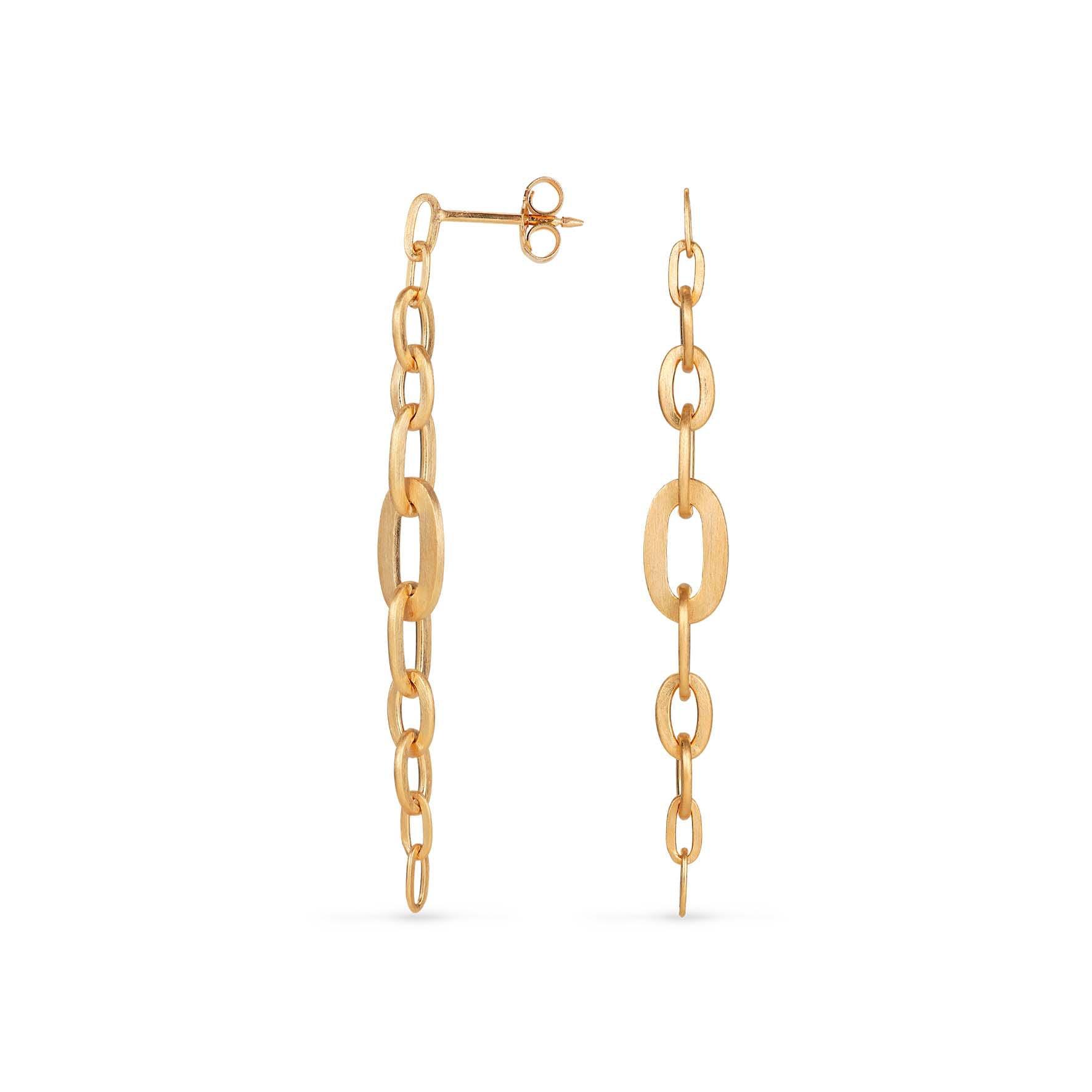 Row Chain Earring von Jane Kønig in Vergoldet-Silber Sterling 925