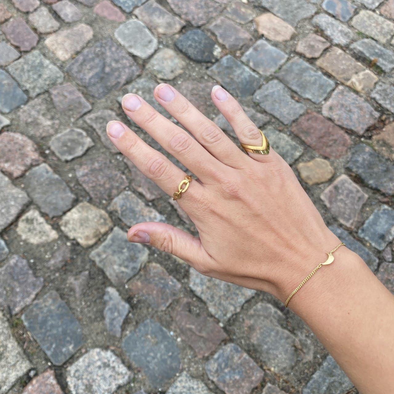 Reflection V Ring von Jane Kønig in Vergoldet-Silber Sterling 925