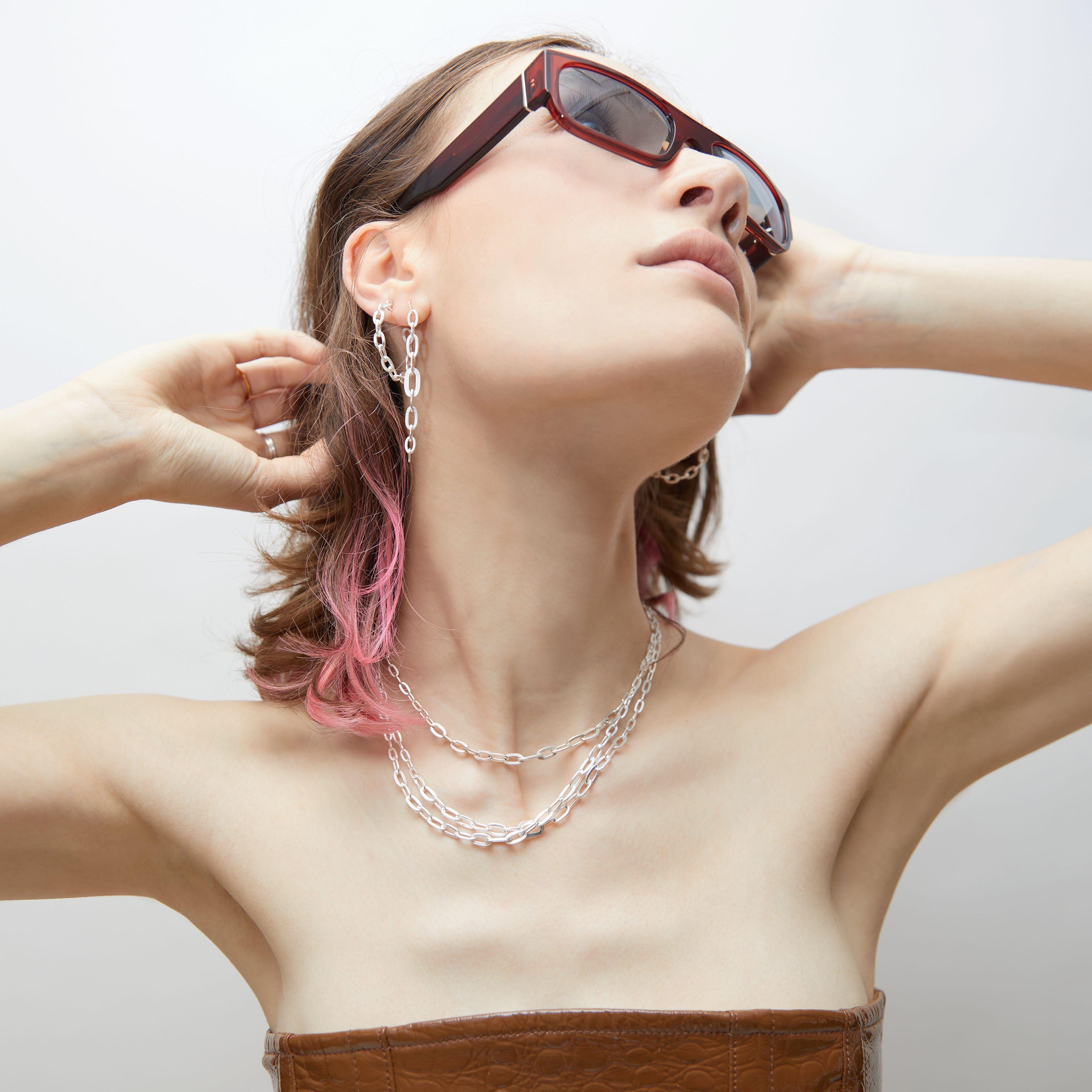 Row Chain Necklace von Jane Kønig in Vergoldet-Silber Sterling 925