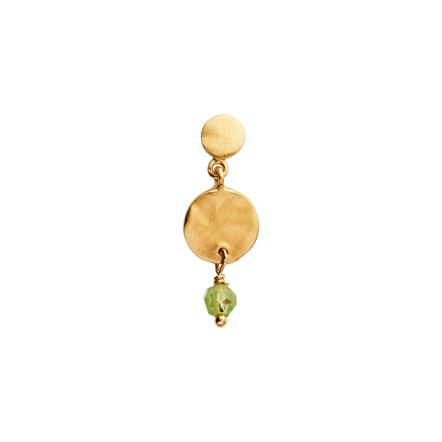 Petit Hammered Coin And Stone Earring Peridot von STINE A Jewelry in Vergoldet-Silber Sterling 925|Gehämmert