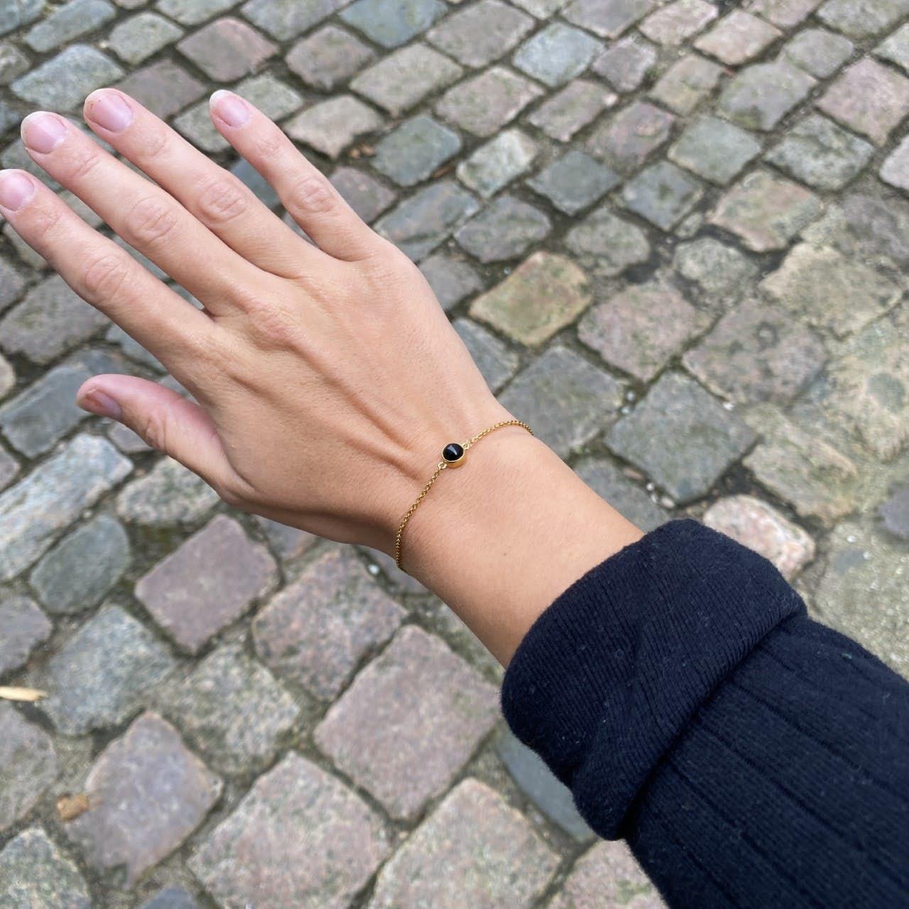 Carré Archive bracelet w. Black Agate stone