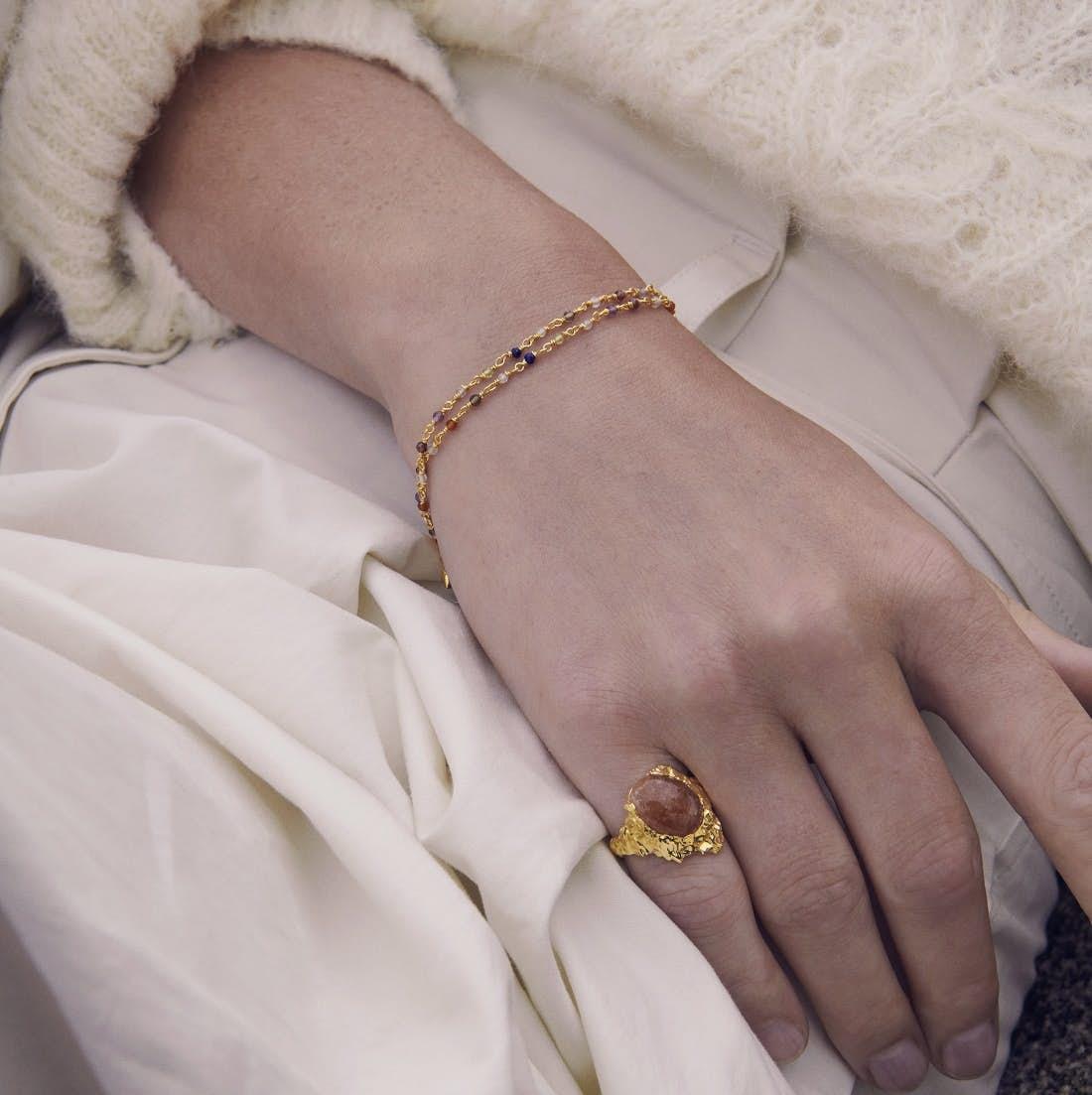 Goddess Ring Sunstone von Maanesten in Vergoldet-Silber Sterling 925