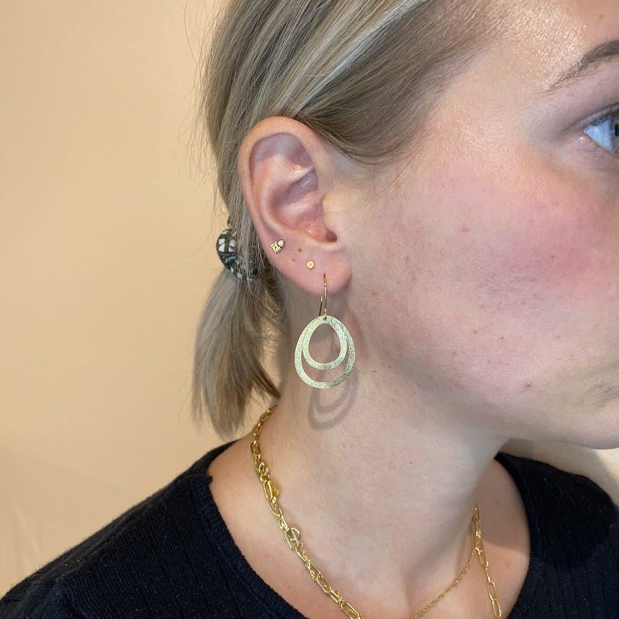 Micro Coin earsticks von Pernille Corydon in Vergoldet-Silber Sterling 925|